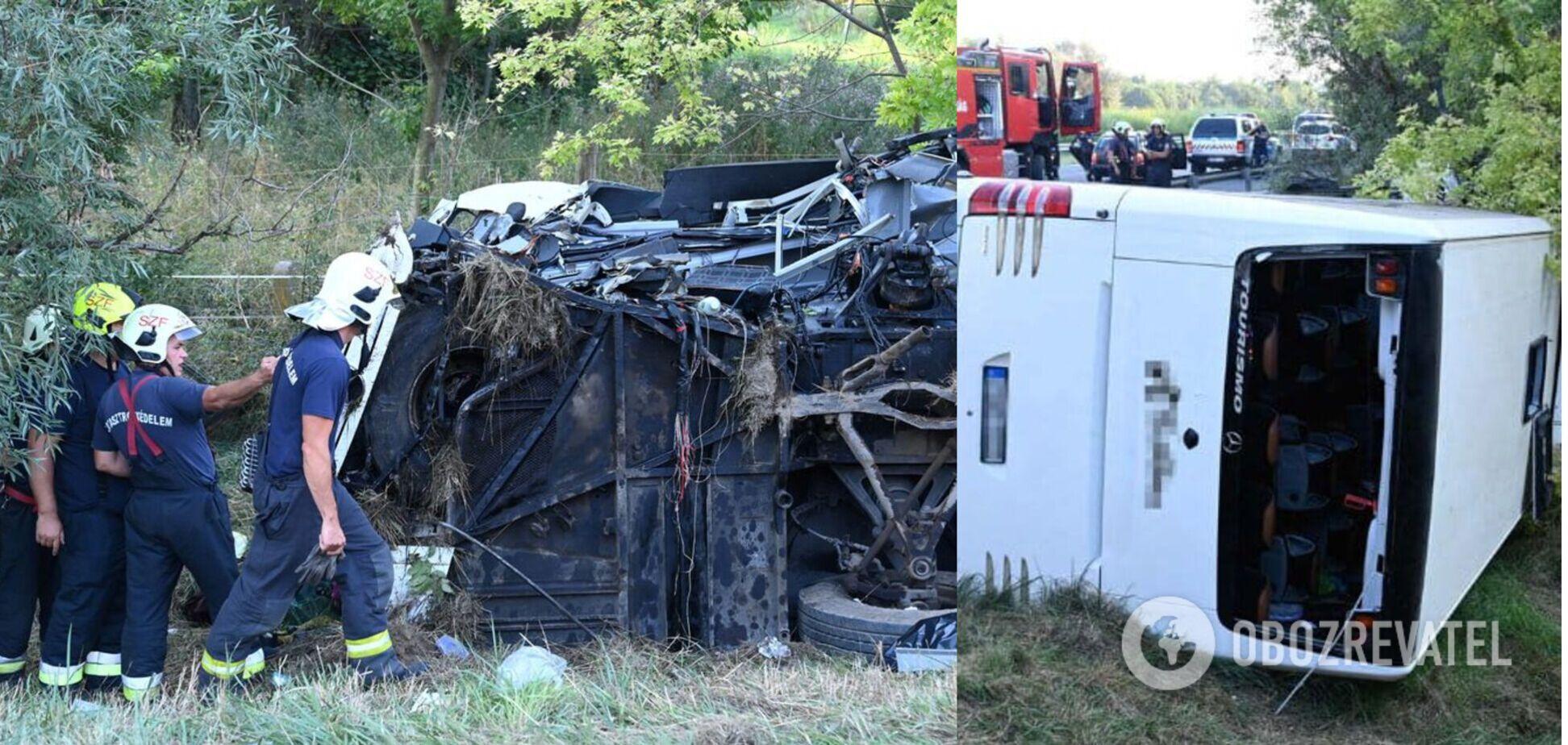 В Венгрии перевернулся пассажирский автобус: 8 погибших и десятки пострадавших. Фото