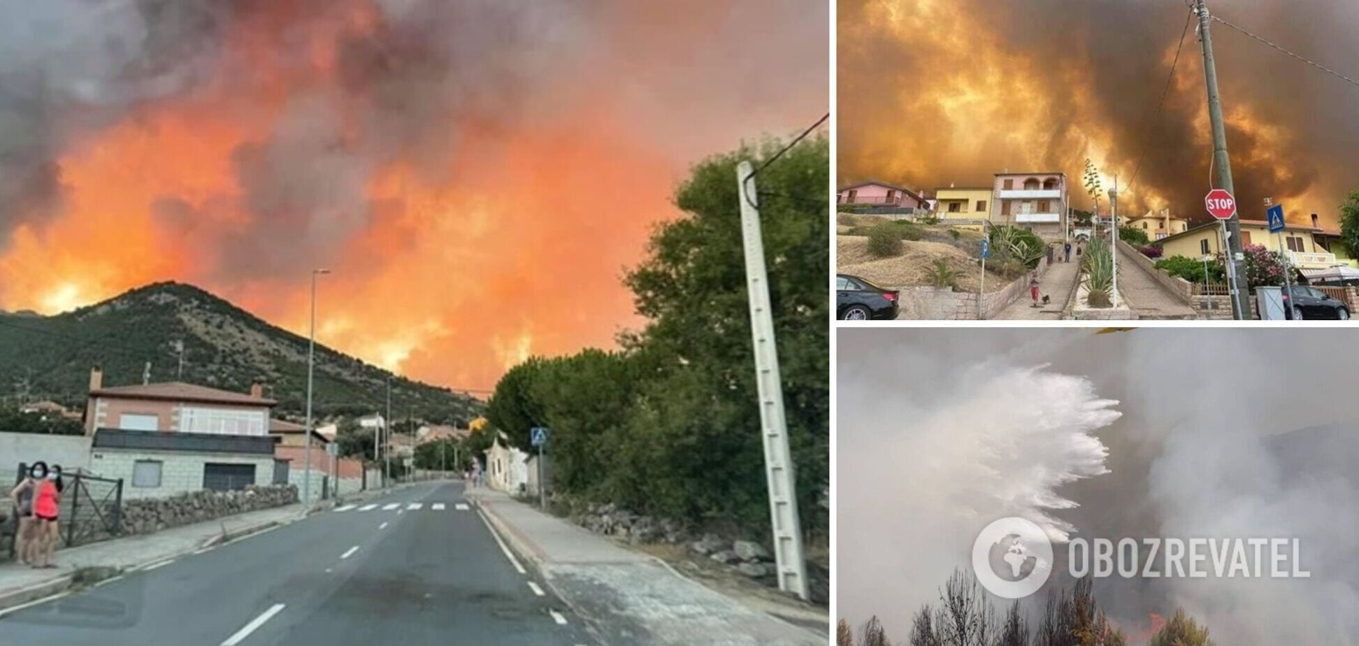 В Іспанії сотні людей евакуювали через потужні лісові пожежі, все навколо затягнув дим. Фото і відео