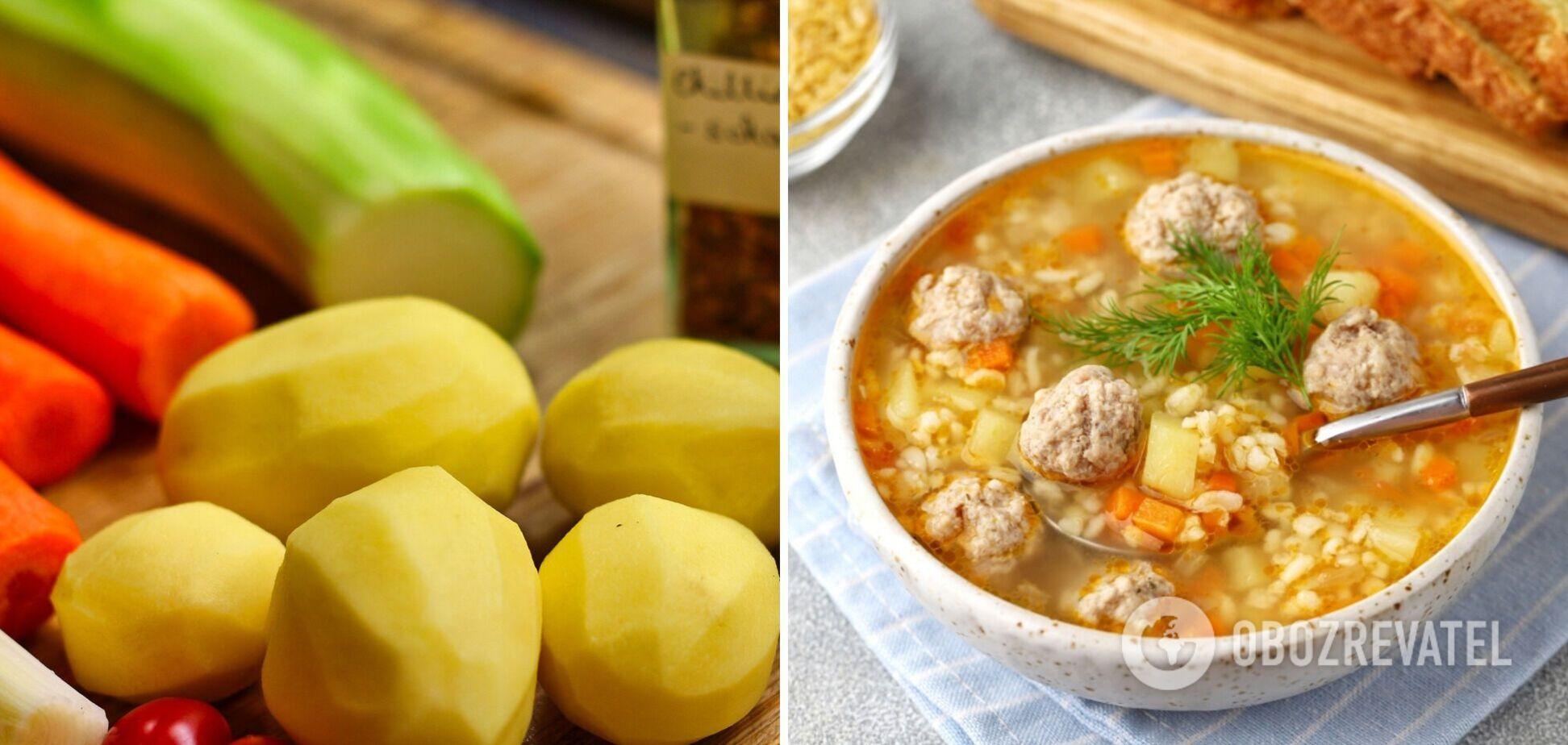 Домашній суп з фрикадельками