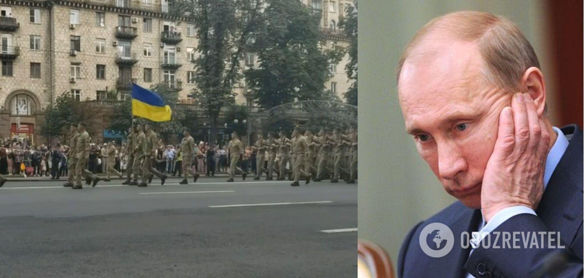 Справжні козаки: мережу захопило виконання військовими пісні про Путіна на репетиції параду в Києві