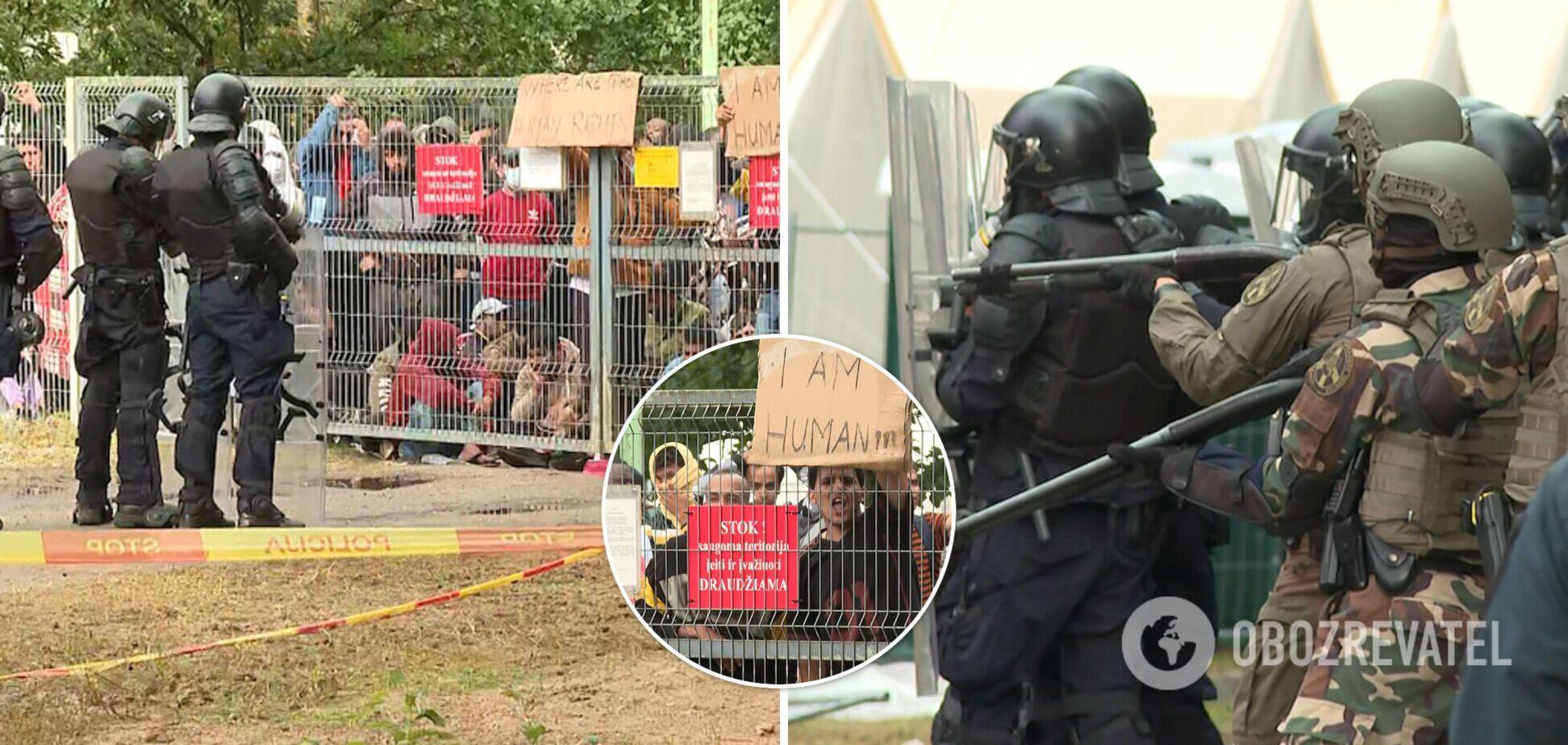 У Литві нелегальні мігранти влаштували безлади, поліція застосувала водомети і сльозогінний газ. Фото