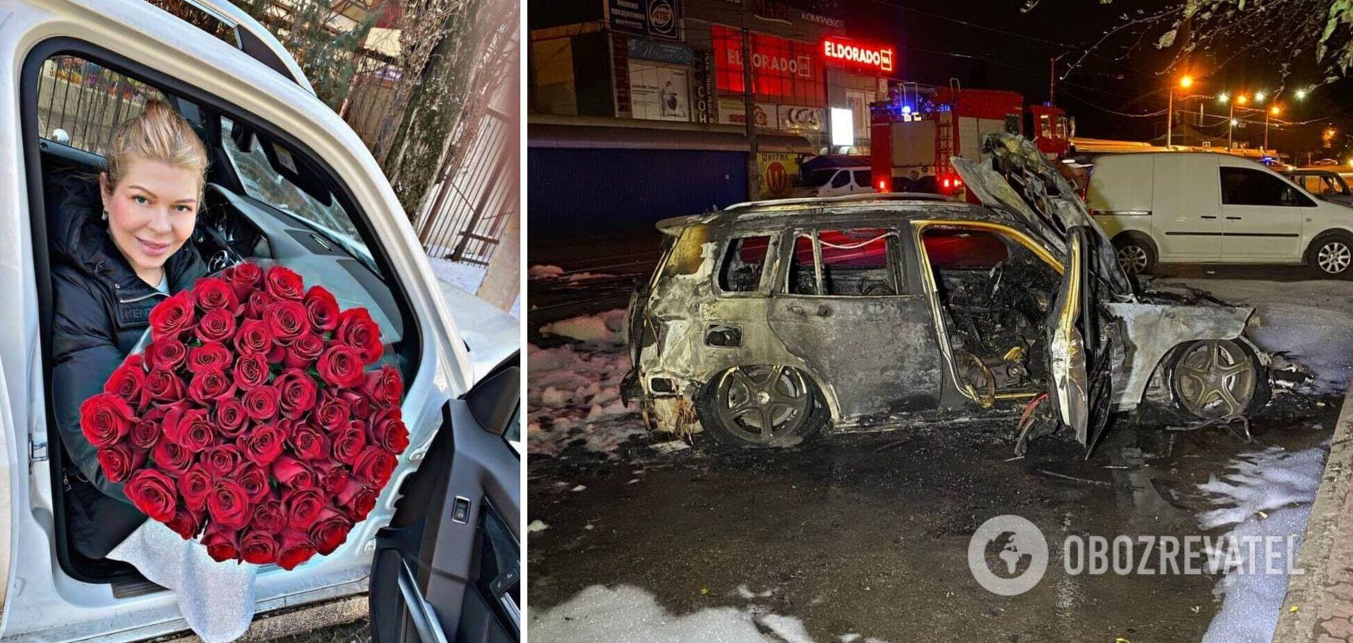 У Кривому Розі згоріло авто відомої в місті підприємниці. Фото