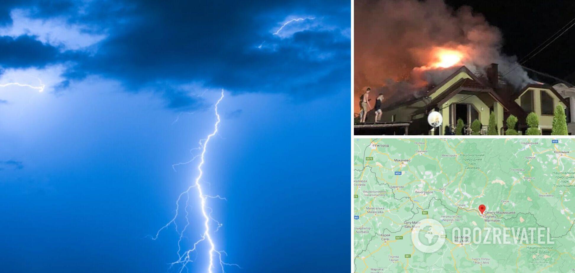 На Закарпатье молния попала в жилой дом, вспыхнул масштабный пожар. Фото