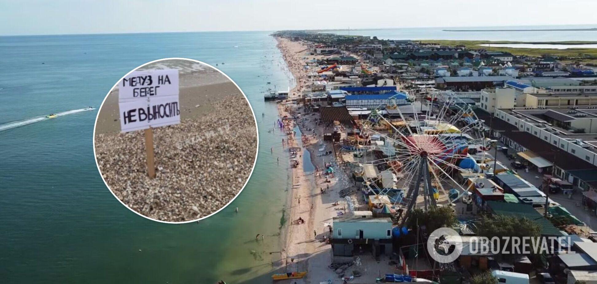 В Кирилловке отдыхающим запретили выносить медуз на берег