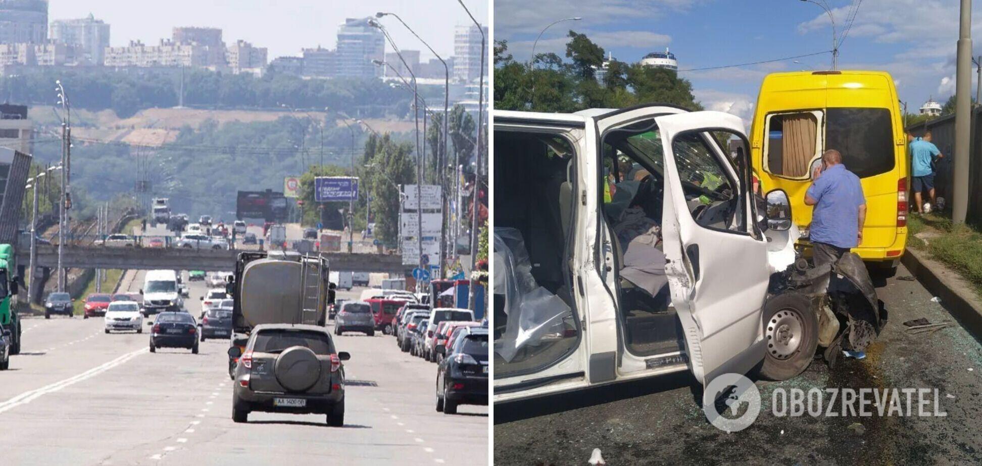 У Києві зіткнулися два мікроавтобуси, є постраждалі. Фото та відео