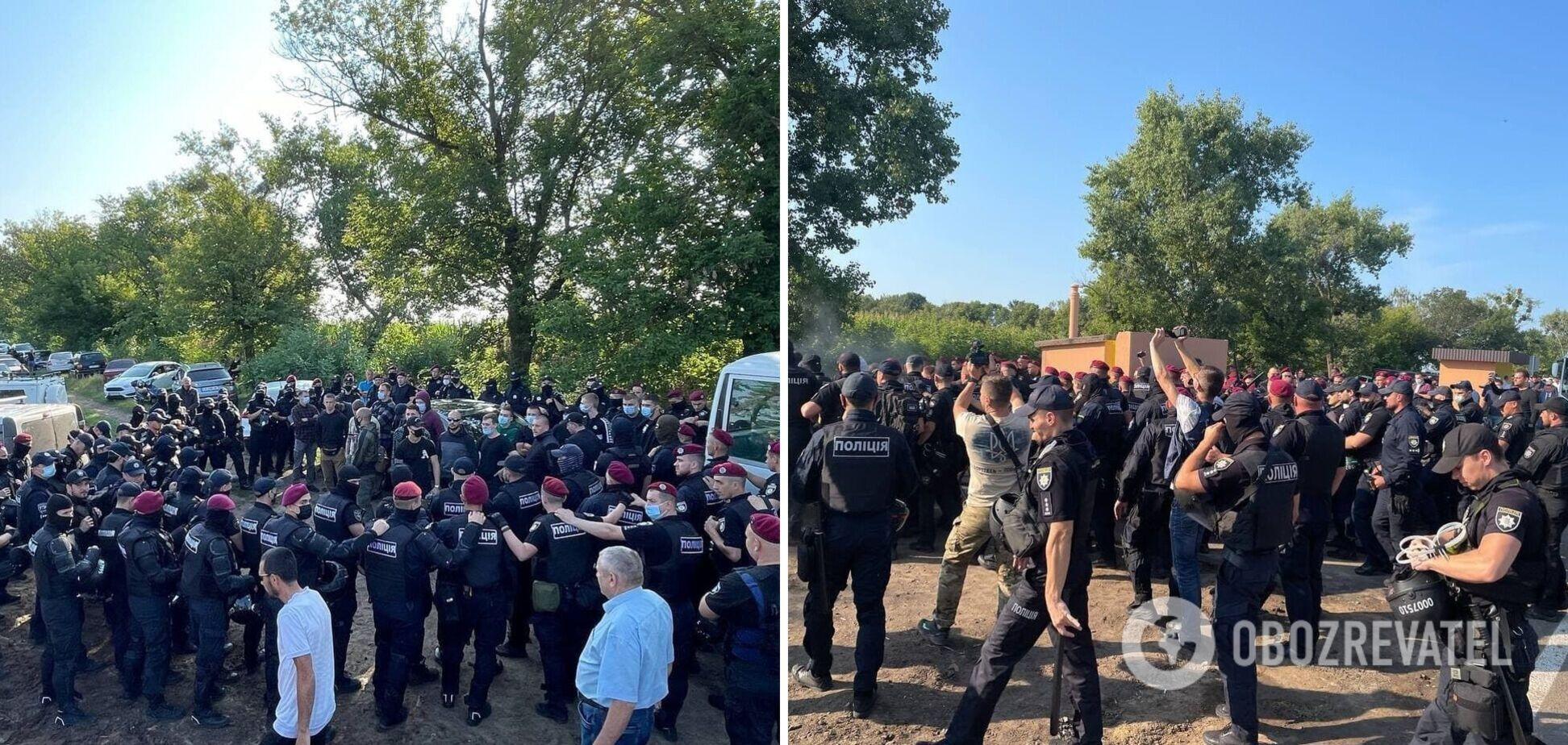 На заходах у Черкаській області за участю Зеленського відбулися сутички активістів з поліцією. Фото