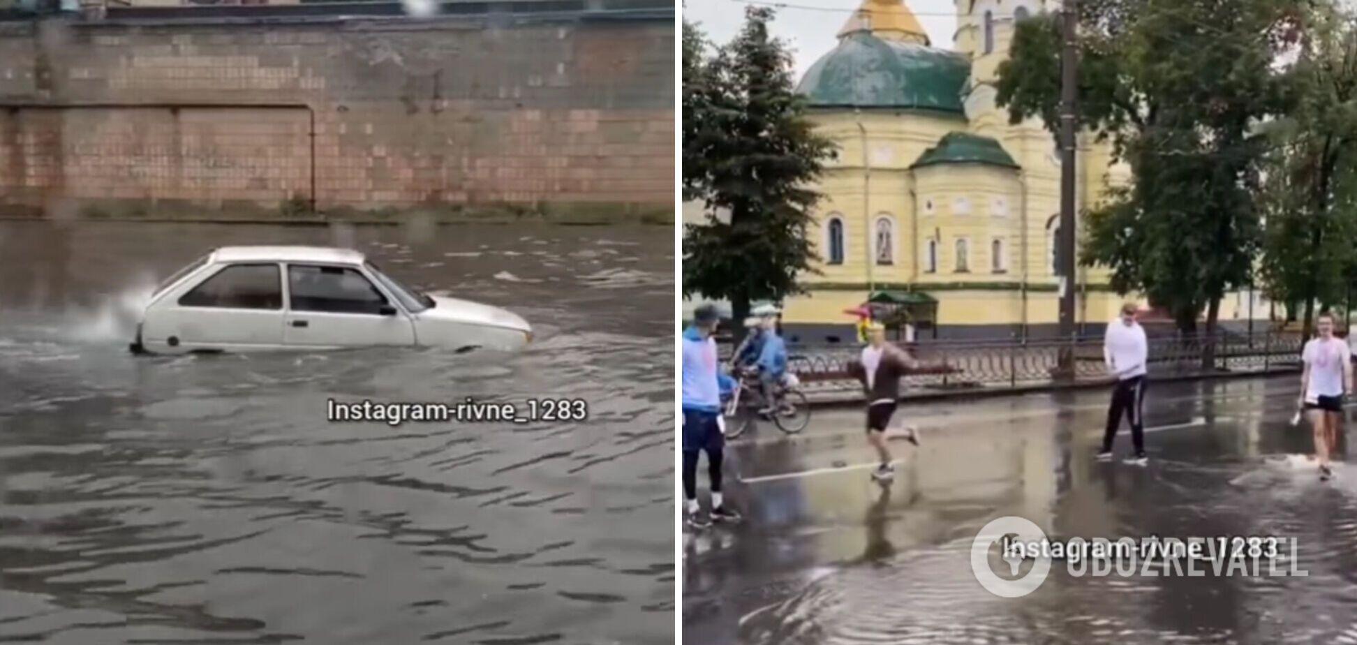 У Рівному на День Незалежності пройшла сильна злива: частину заходів скасували. Фото і відео