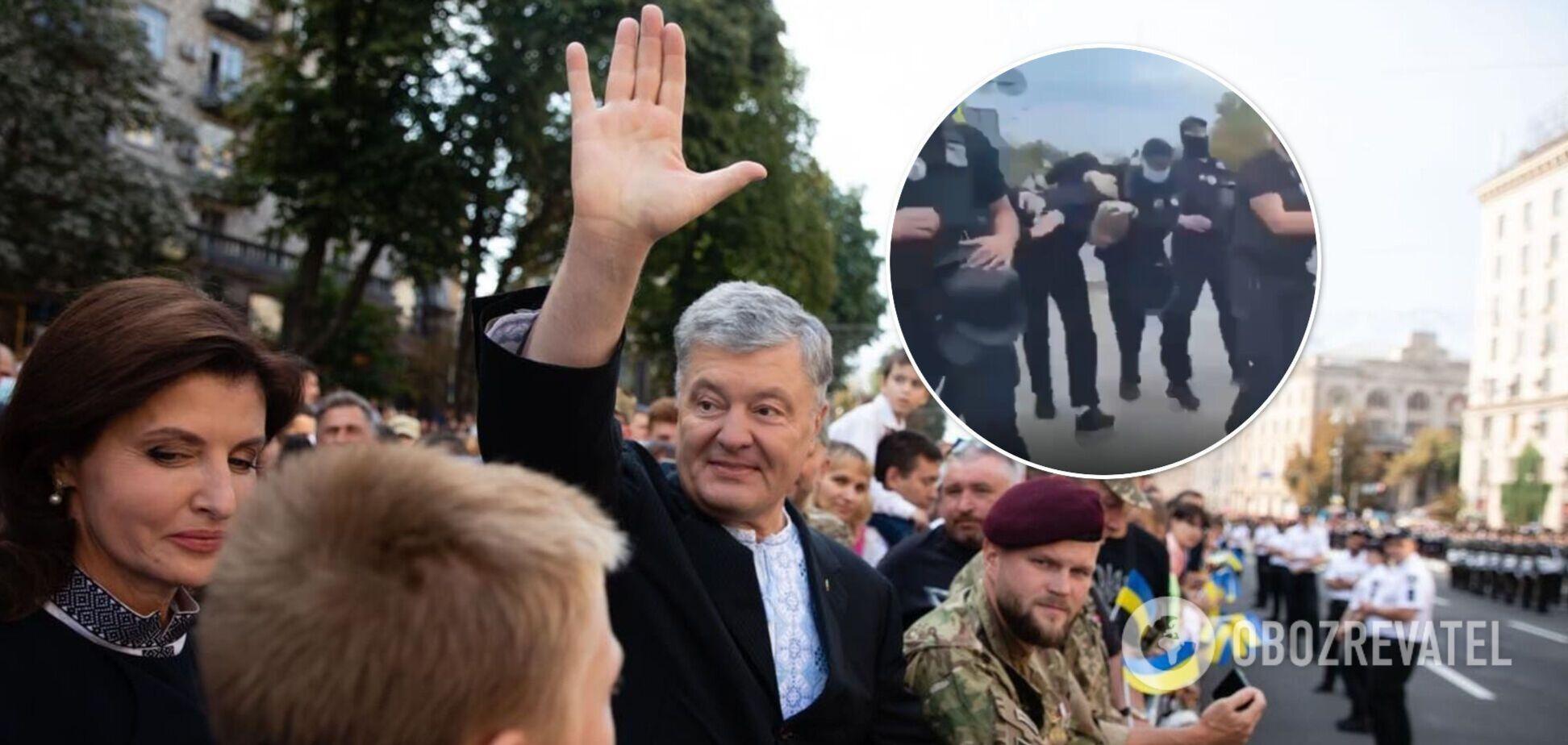 Перед інцидентом Порошенко брав участь в Марші захисників в Києві