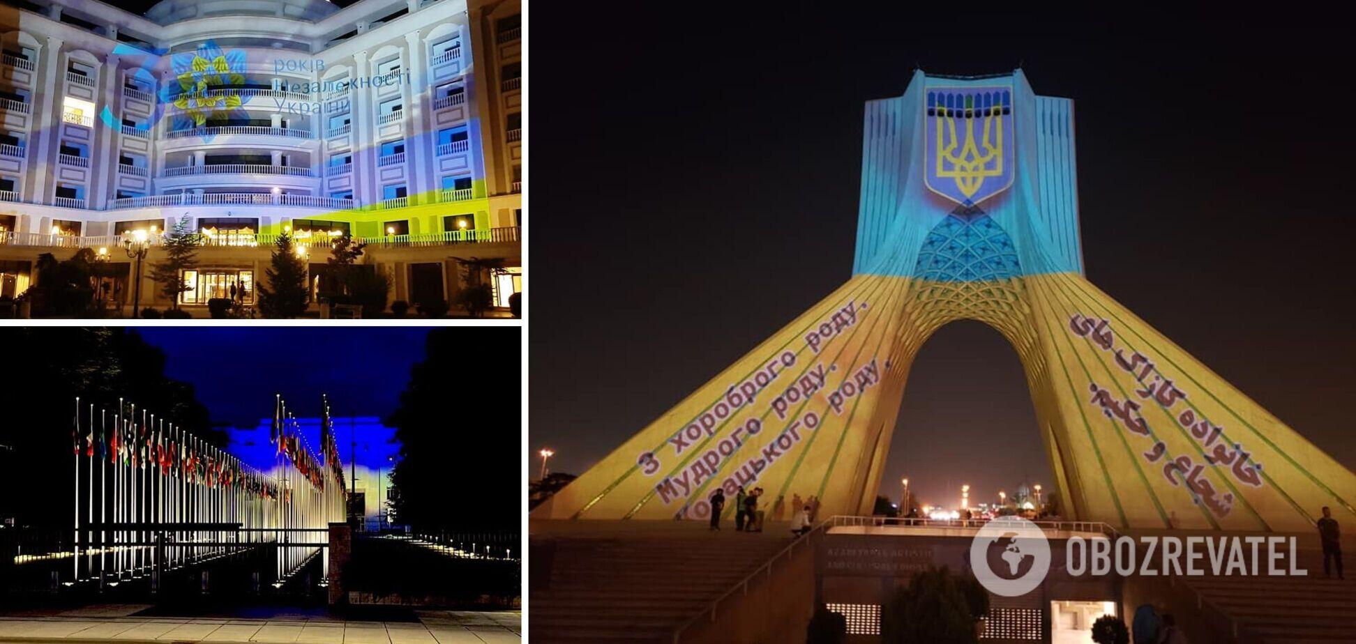На День Незалежності України світові пам'ятки засяяли в кольорах українського прапора. Фото