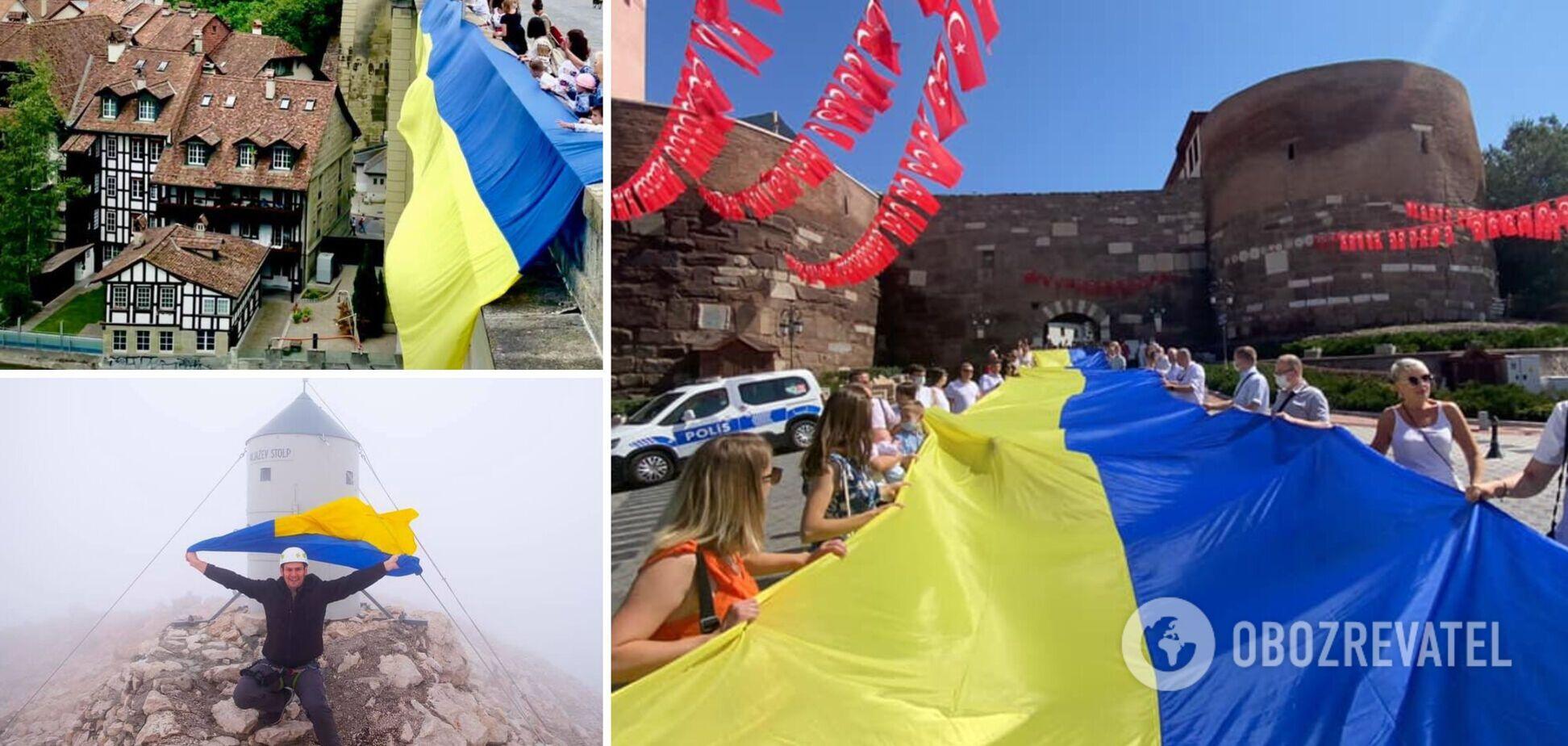 На День Независимости Украины желто-голубые флаги появились в разных уголках планеты. Фото