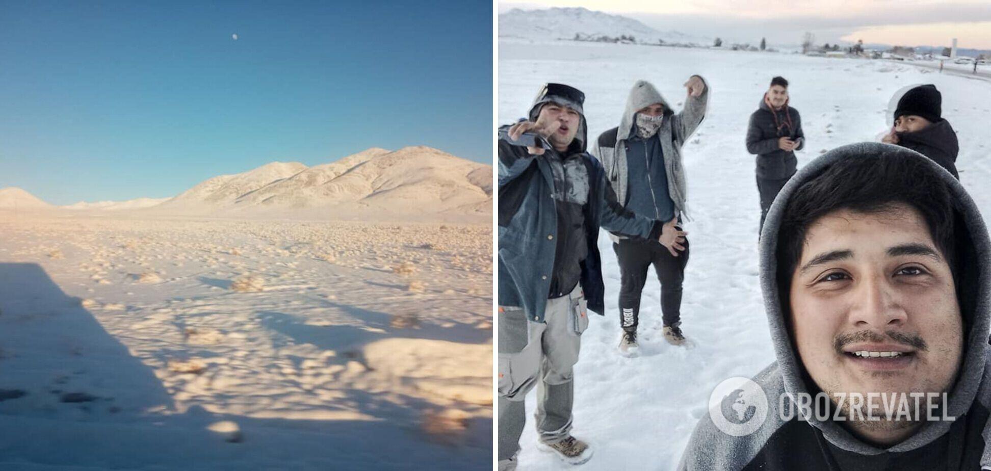 Найбільш суху пустелю світу засипало снігом. Фото і відео