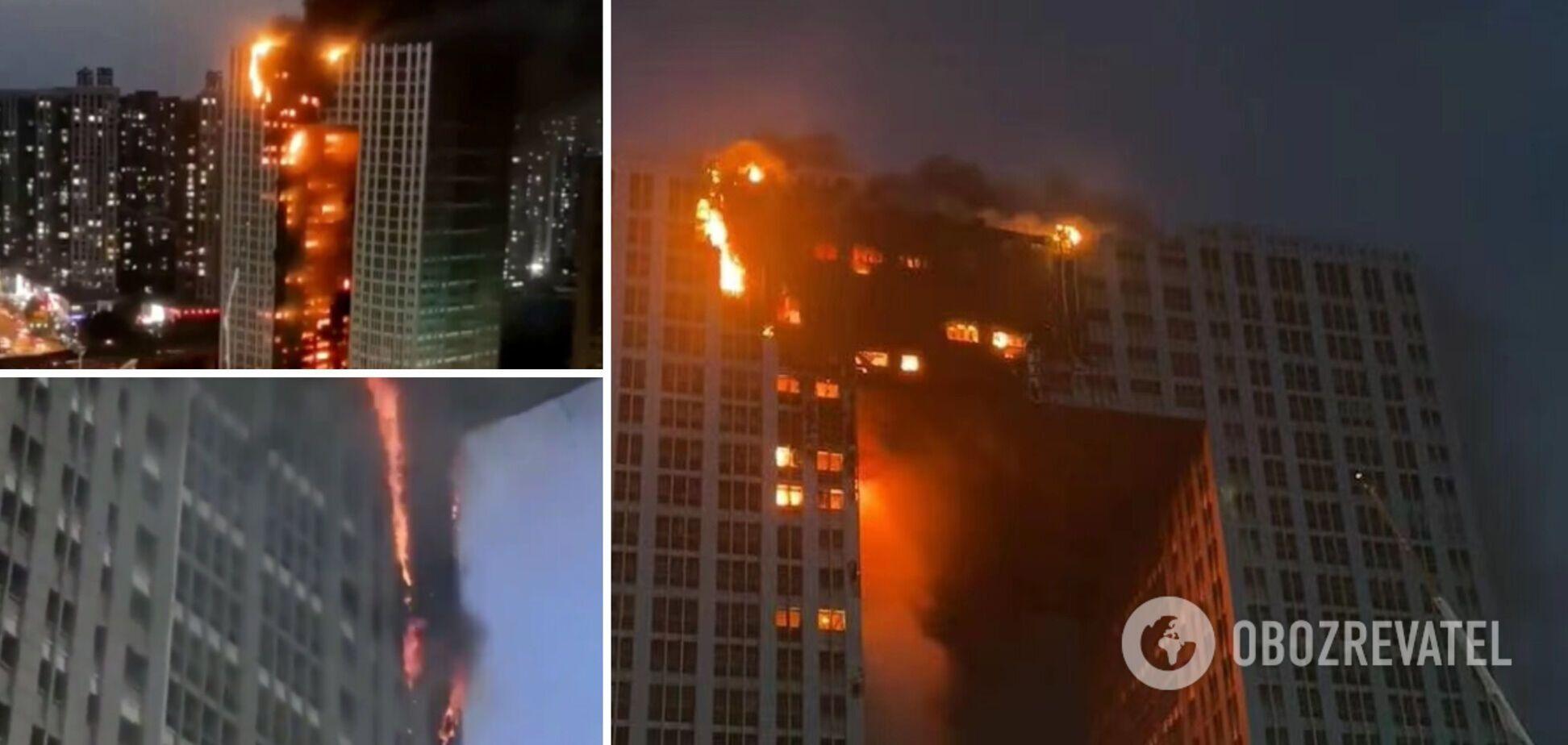 В Китае вспыхнул небоскреб, в котором живет 800 человек. Фото и видео