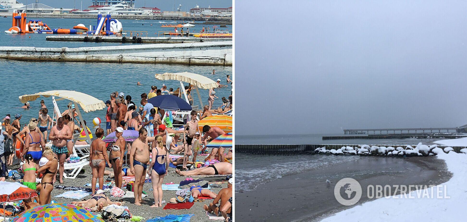 Летом на море слишком много туристов, а зимой пусто