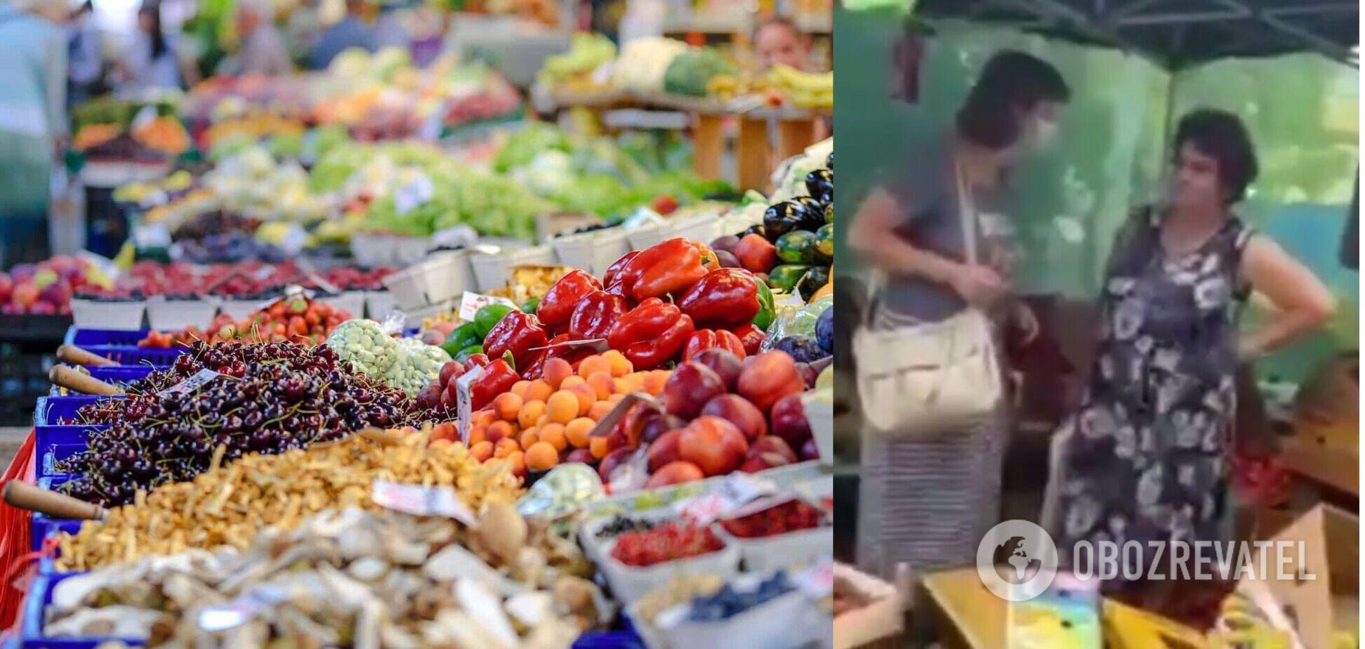 В Одесі жінка влаштувала погром овочевого намету, розташованого біля будинку. Відео