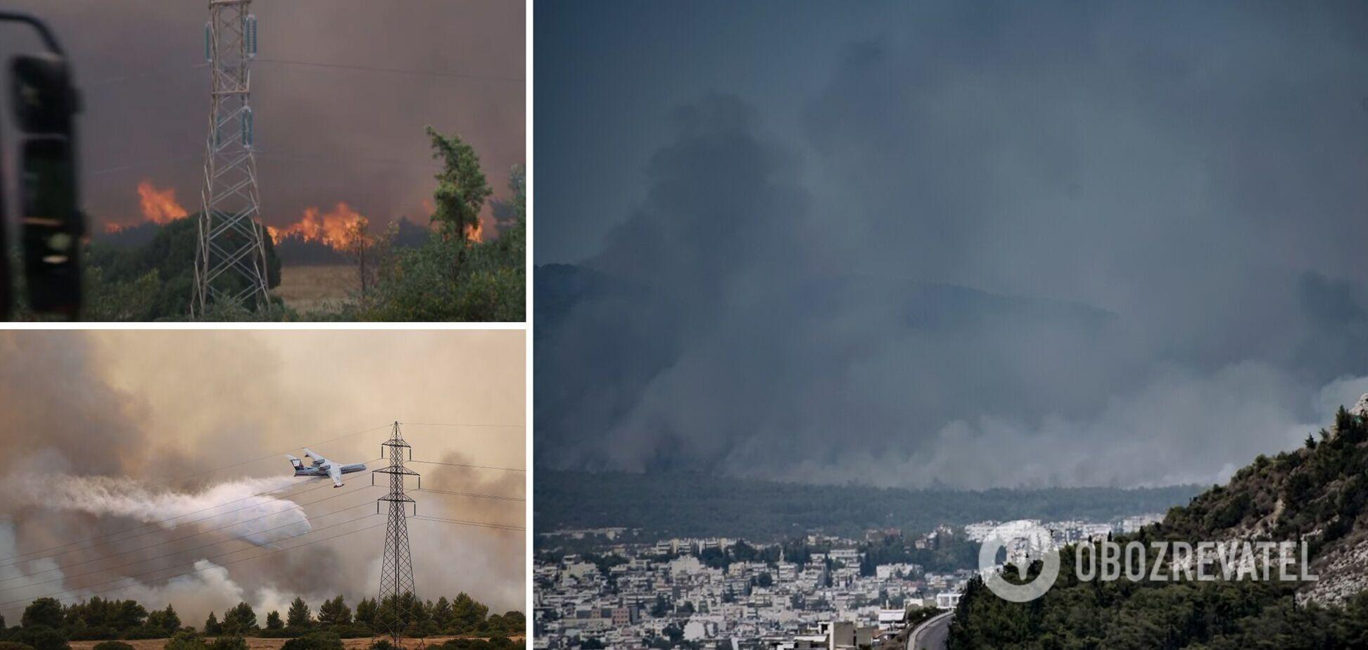 Лесные пожары вспыхнули возле Афин, власти объявили эвакуацию. Фото и видео