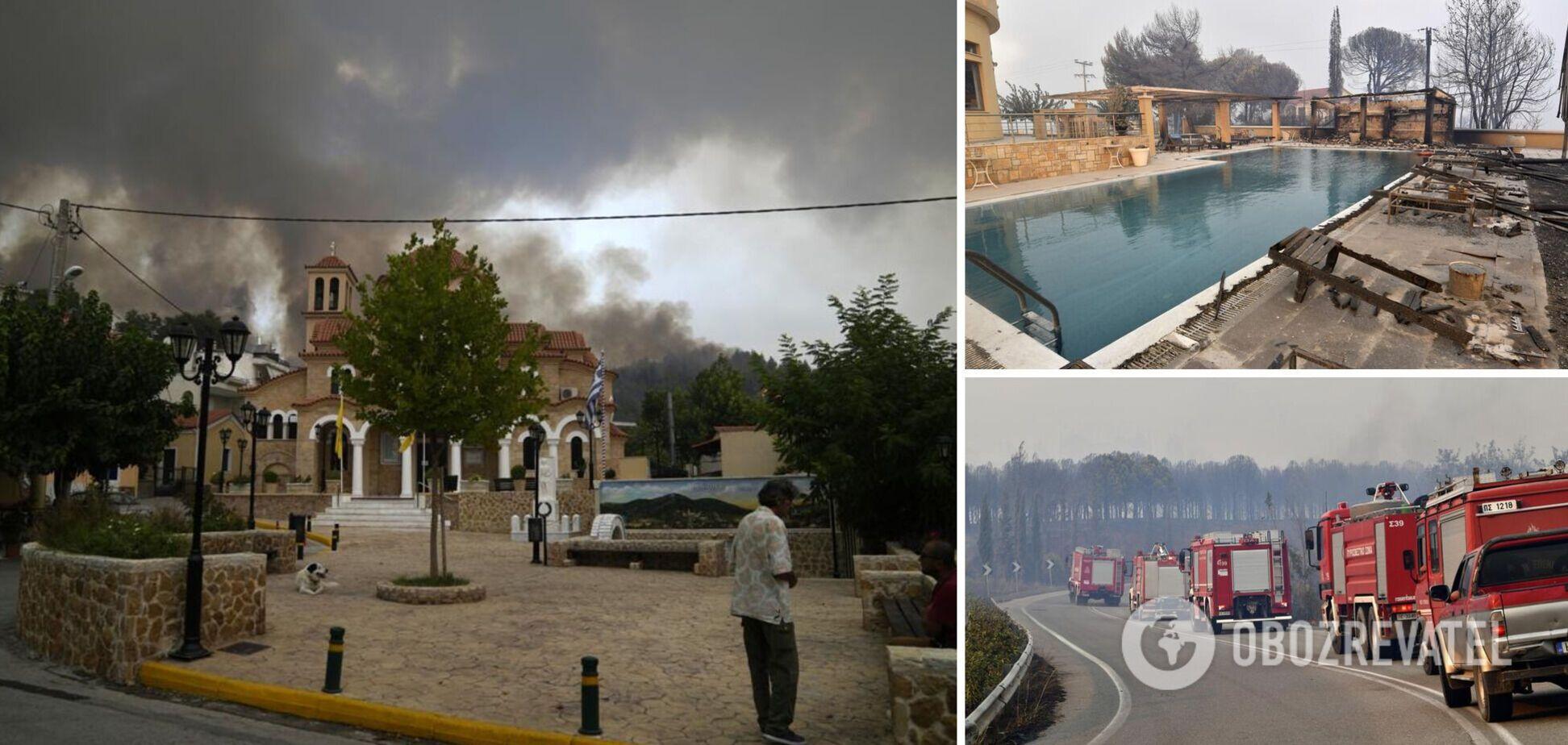 У Греції масштабні лісові пожежі знищили десятки будинків, людей евакуювали. Фото і відео