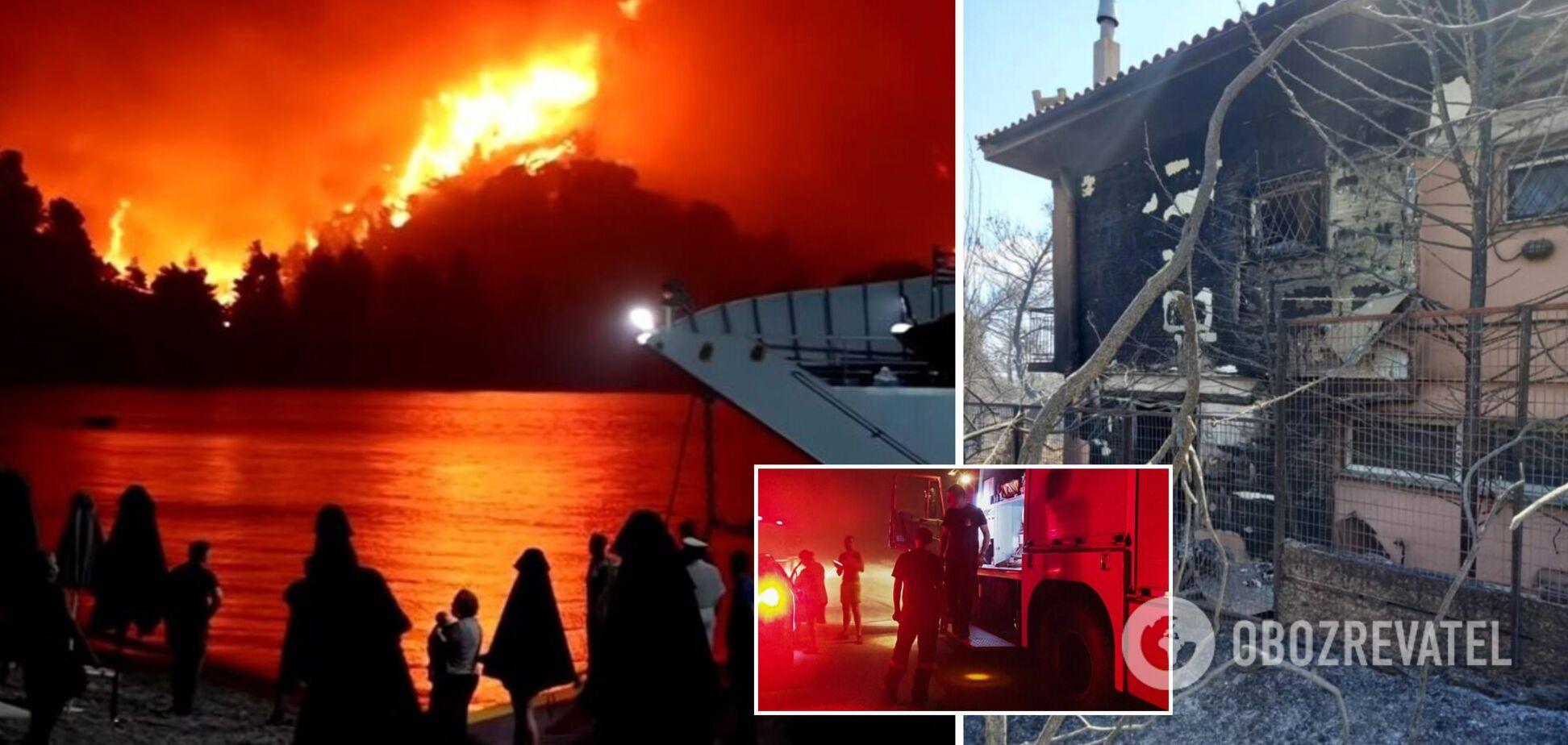 У Греції масштабні лісові пожежі знищили сотні будинків, небо стало червоного кольору. Фото та відео