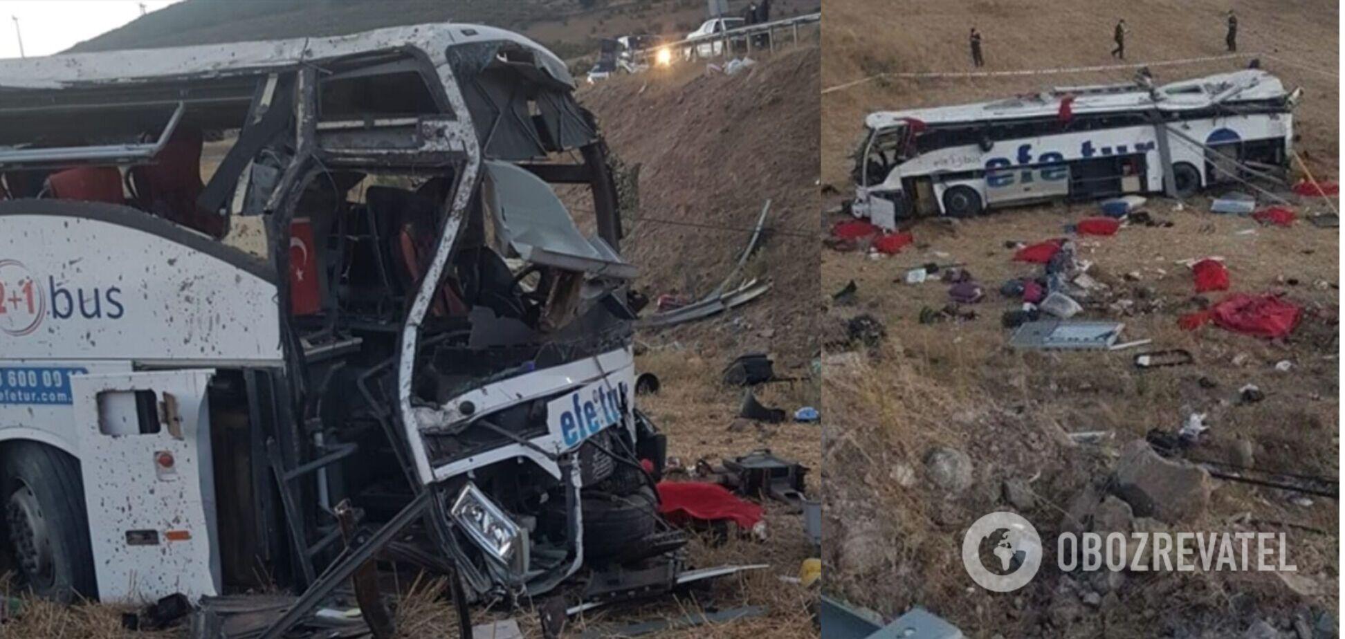 В Турции автобус слетел с дороги и перевернулся, погибли 15 человек, много пострадавших. Фото