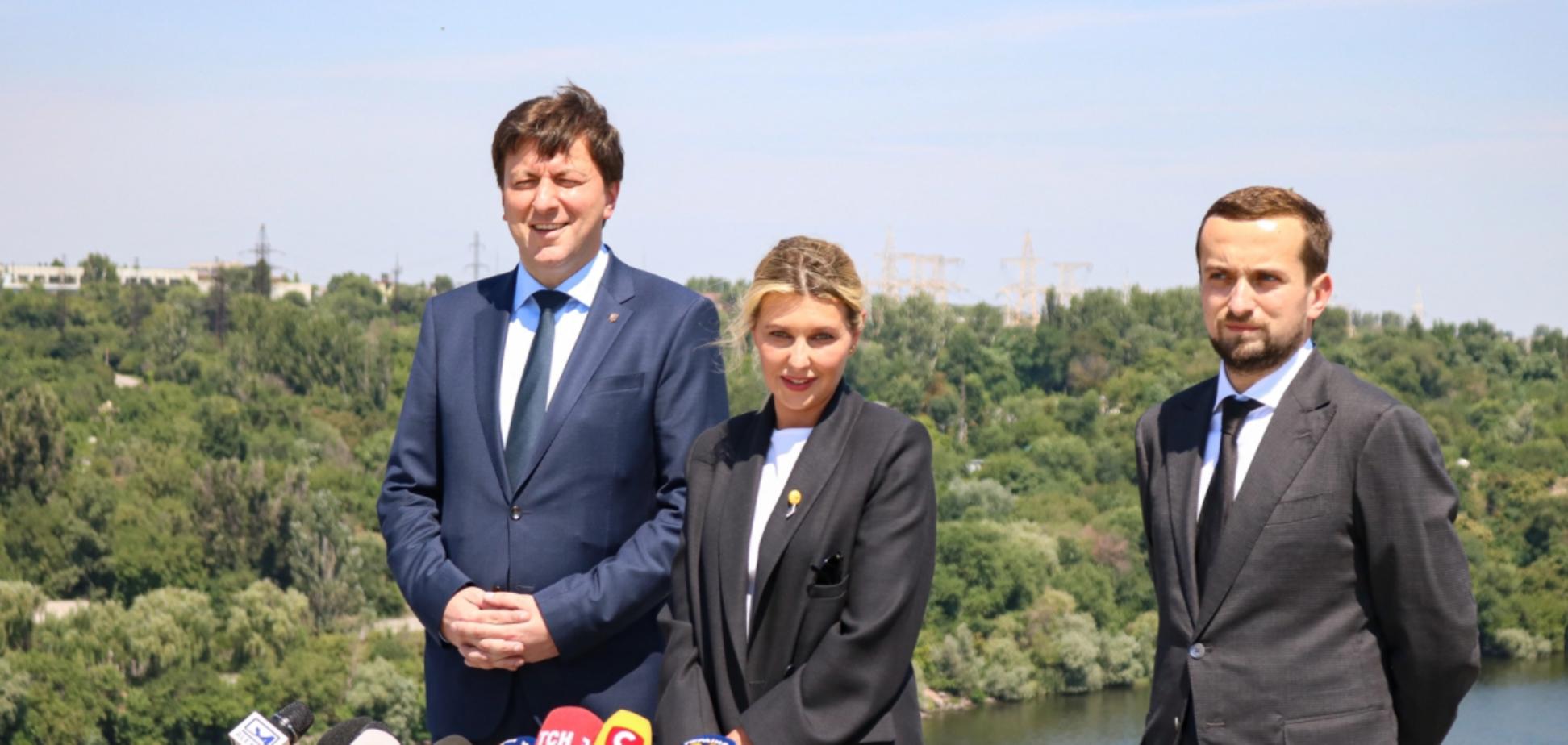 Перша леді Олена Зеленська та заступник голови Офісу Президента Кирило Тимошенко відвідали Хортицю