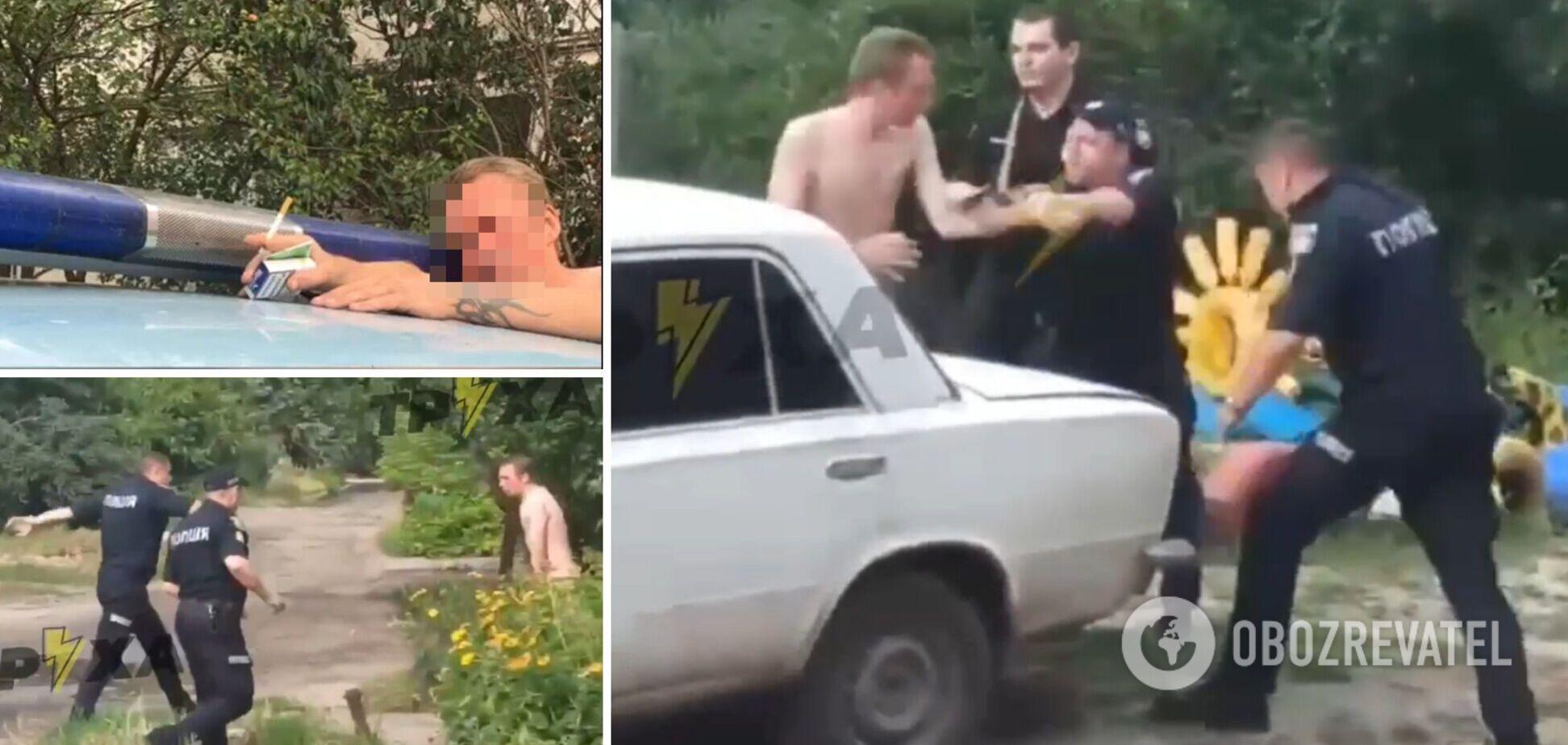 На Харківщині поліцейські затримали голого чоловіка з наркотиками. Фото і відео