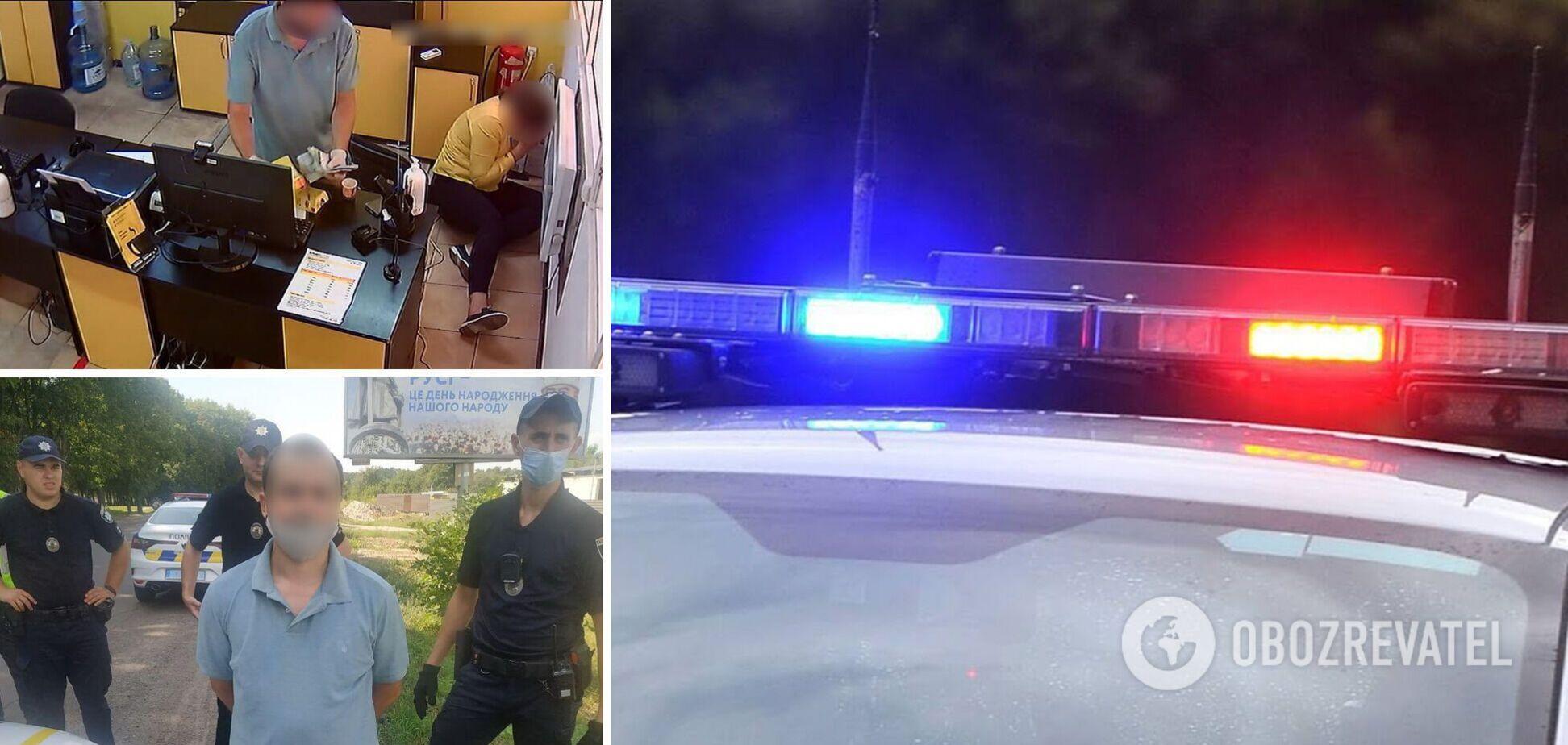 В Сумах мужчина с ножом ограбил кредитную организацию, его поймали в маршрутке. Фото