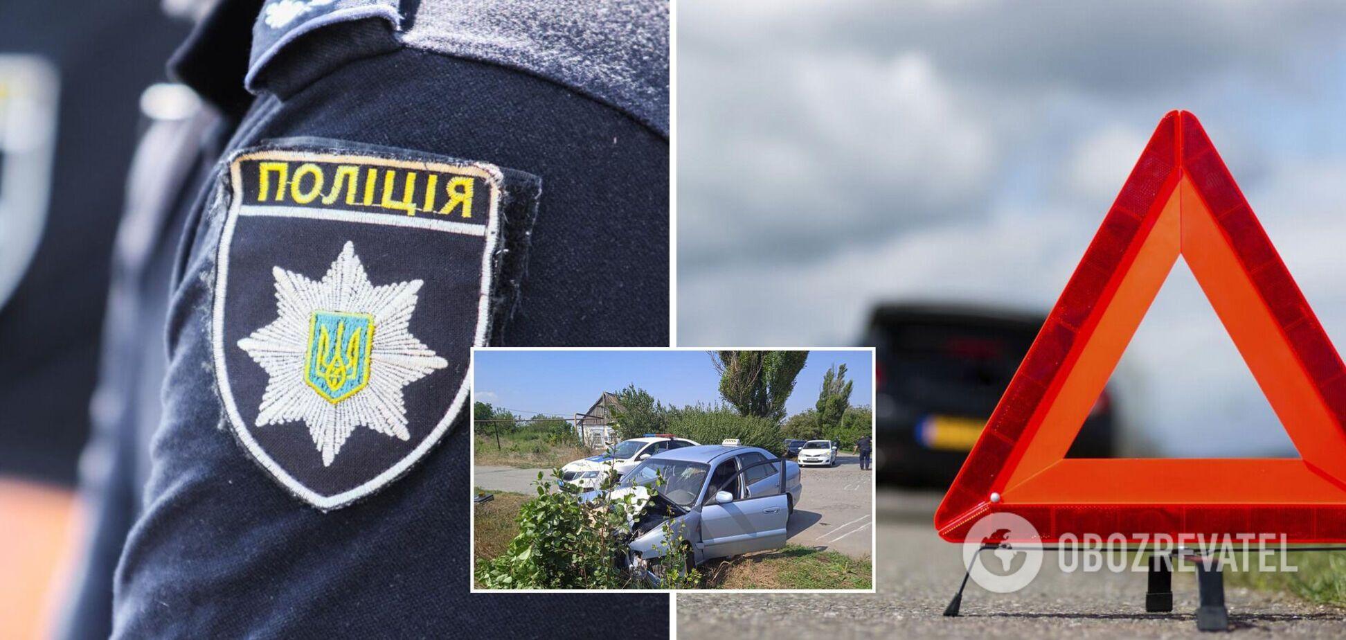 На Запоріжжі водій збив поліцейського і влетів у дерево. Фото і відео