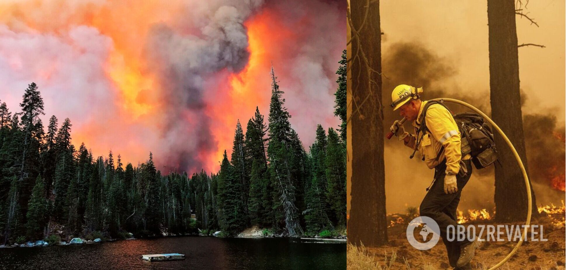 В Калифорнии бушует масштабный лесной пожар: густой дым окутал популярный среди туристов город. Видео