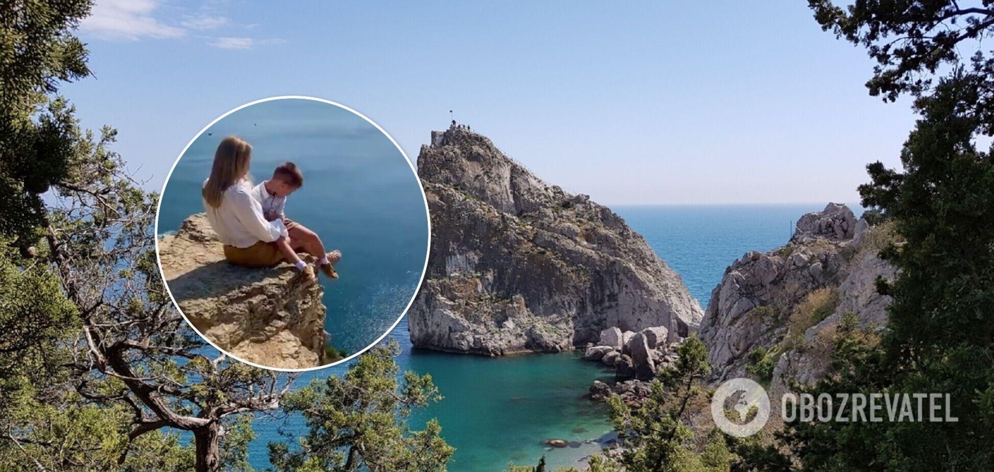 У Криму інстаблогерка влаштувала фотосесію з дитиною на краю скелі. Відео