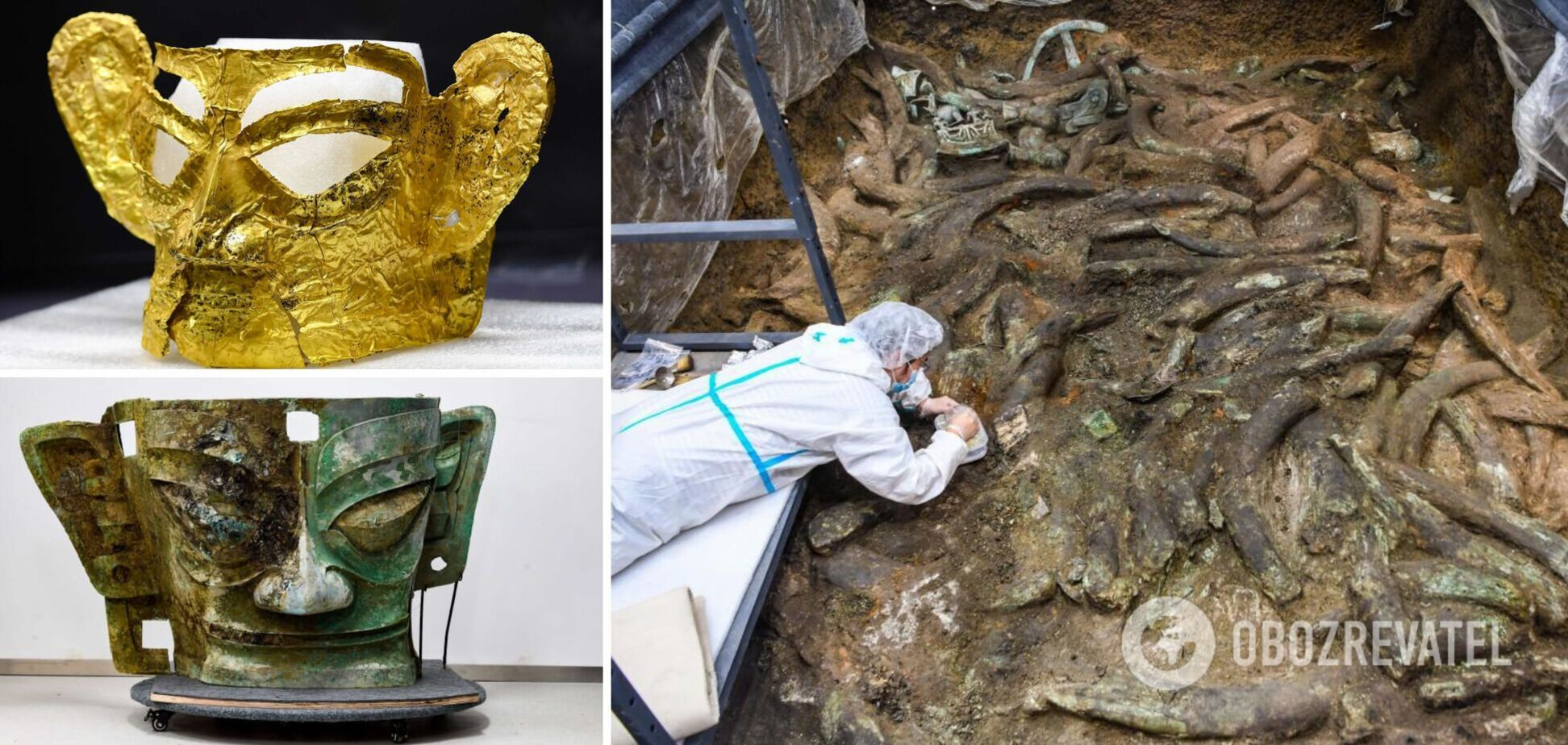 В Китае показали золотую маску, которой более 3 тыс. лет: ее нашли в жертвенной яме. Фото
