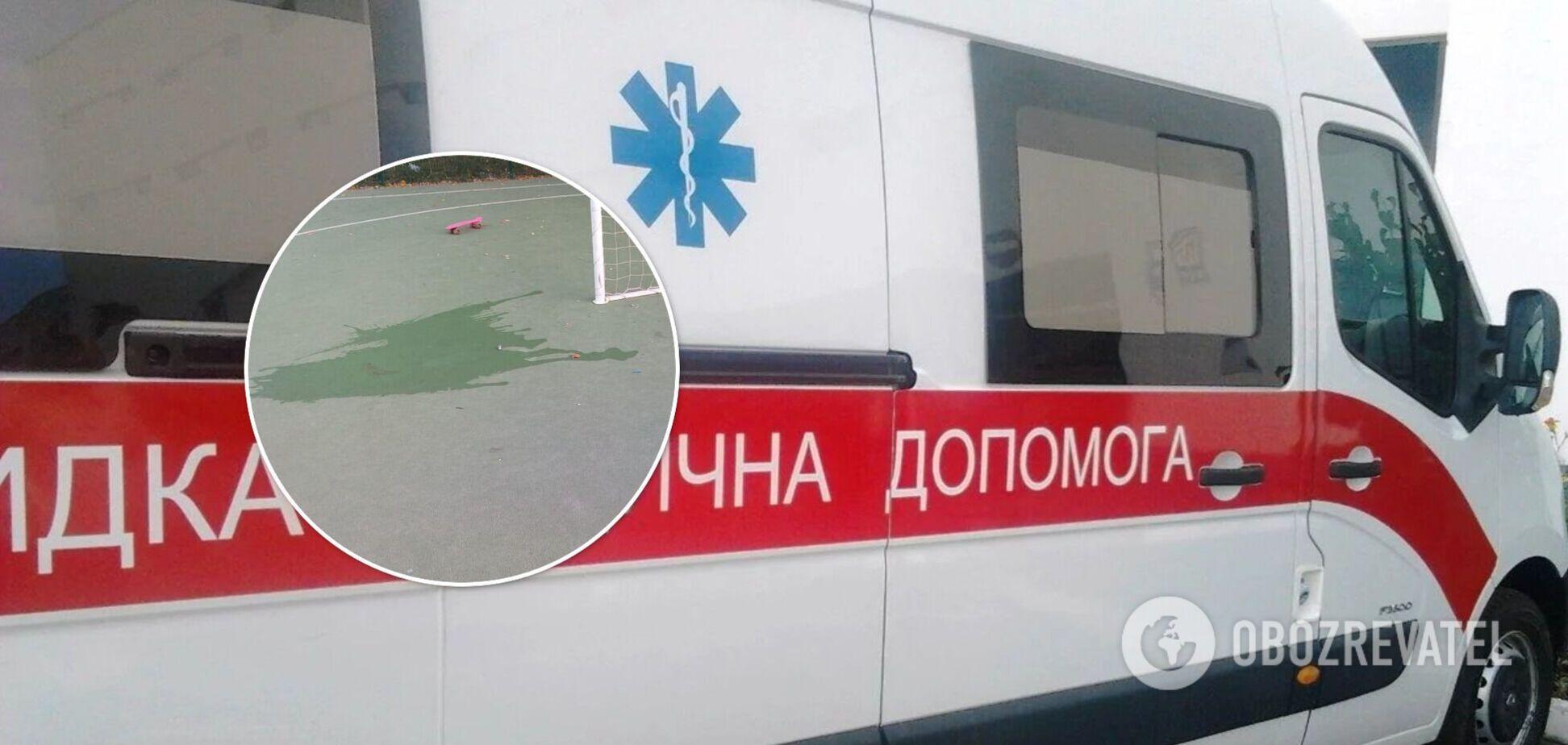 В Харькове 6-летний ребенок попал в реанимацию, получив травму на школьном стадионе. Фото