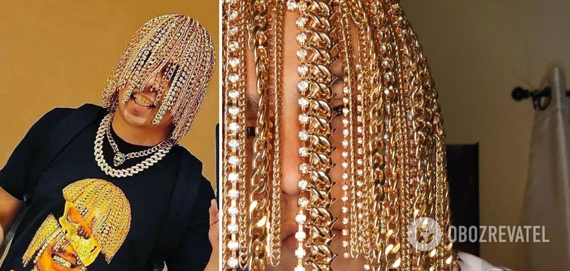 Рэпер из Мексики вживил себе в голову золотые цепи вместо волос. Видео