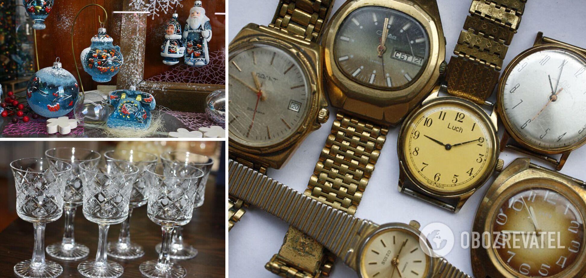 Часы, елочные украшения и посуда сейчас дорого стоит
