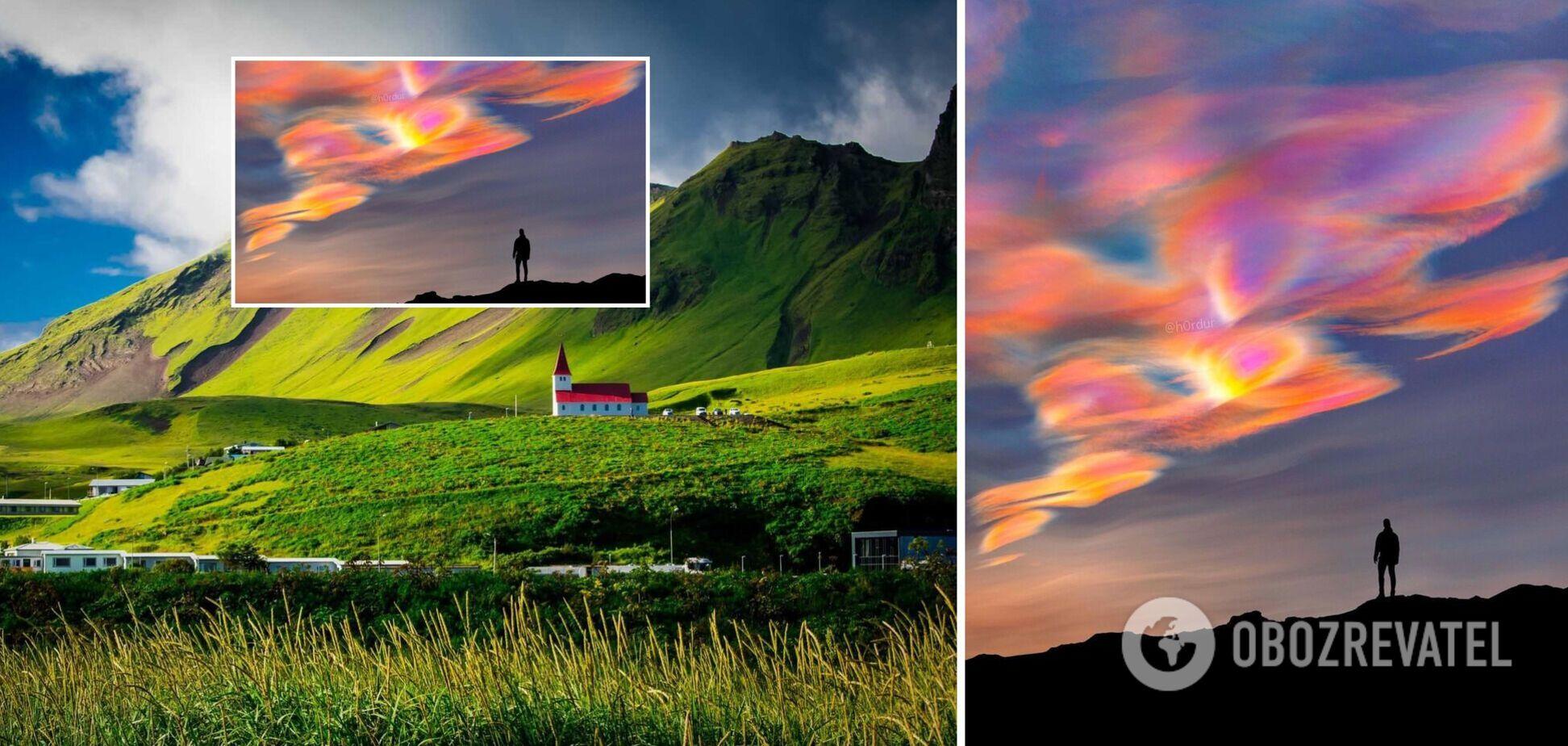 Фотограф снял невероятные 'перламутровые' облака в Исландии. Фото