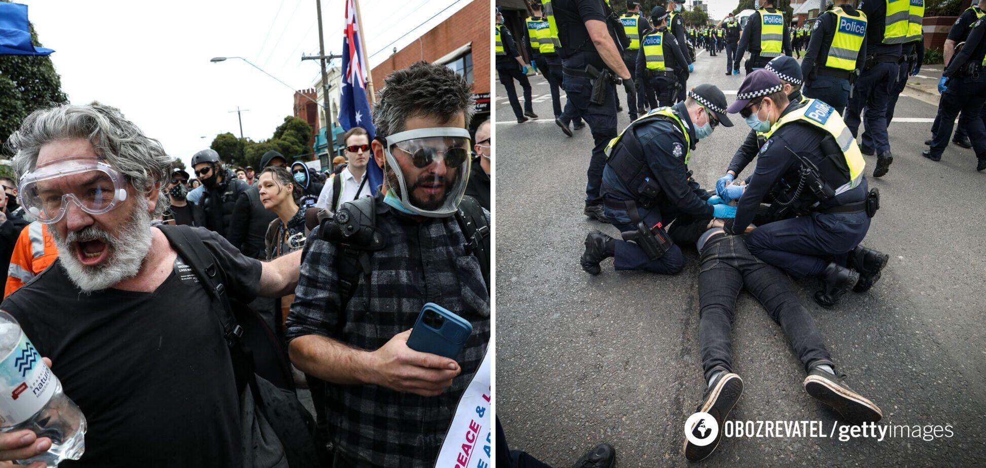 В Австралии акция против локдауна вышла из-под контроля: пострадали 10 полицейских. Фото и видео
