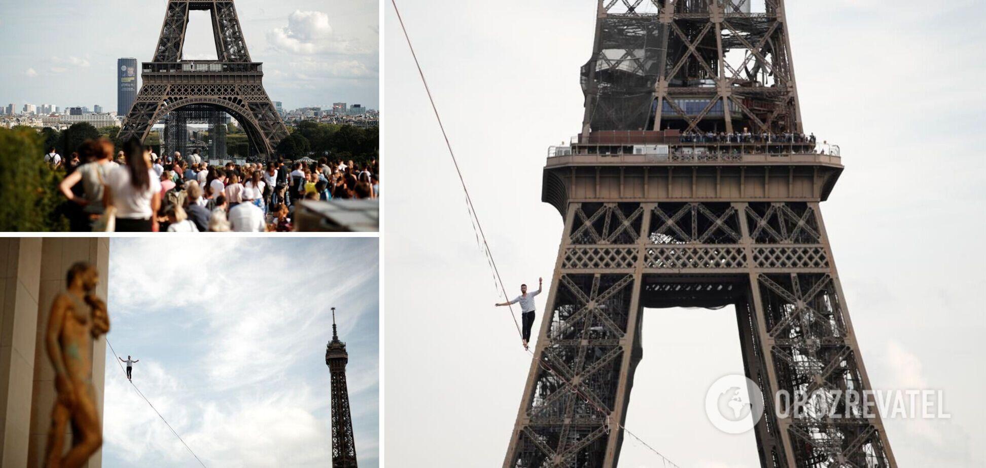 Канатоходець пройшов по тросу, натягнутому між Ейфелевою вежею і театром на висоті 70 метрів. Фото і відео