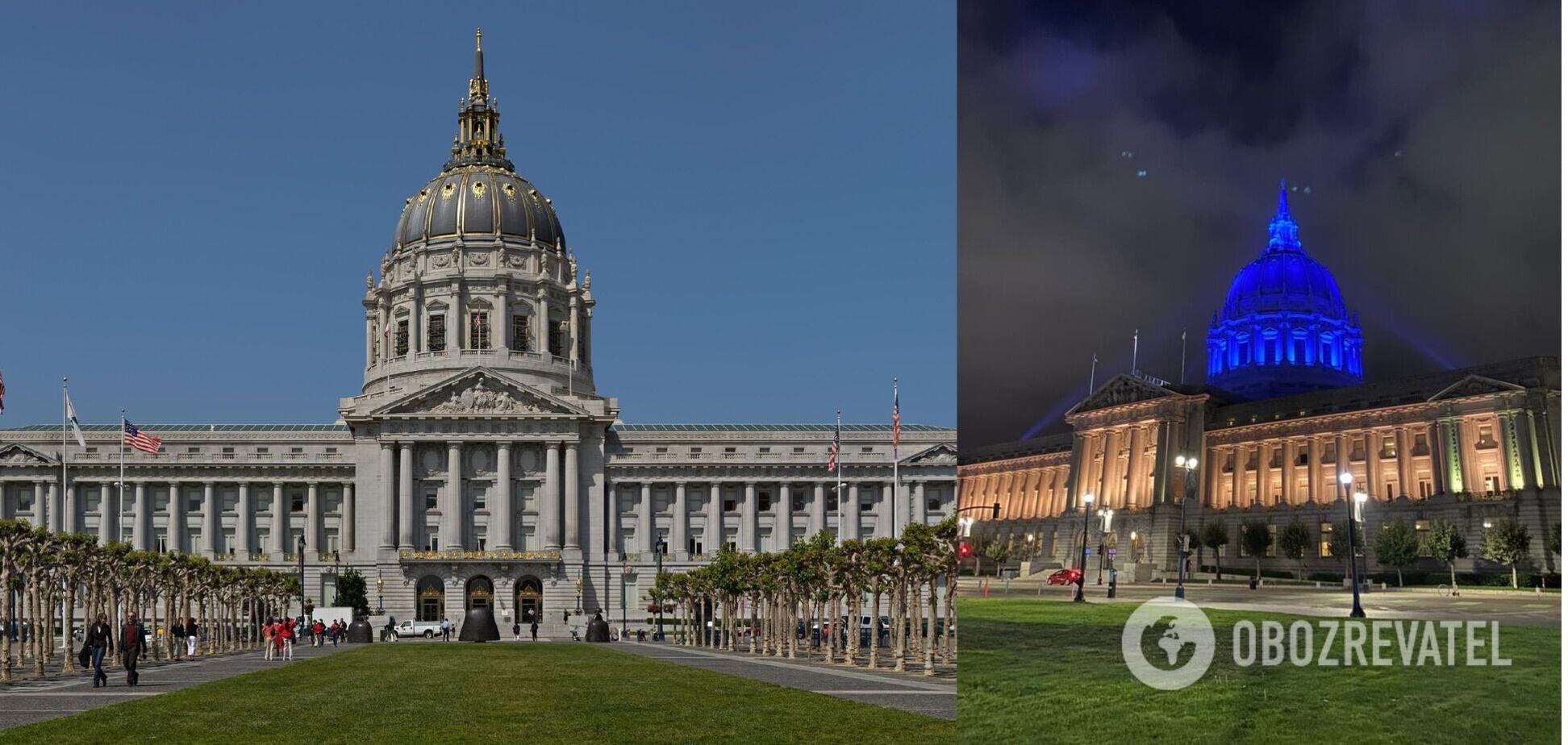 Мэрию Сан-Франциско подсветили цветами украинского флага в честь визита Зеленского. Фото