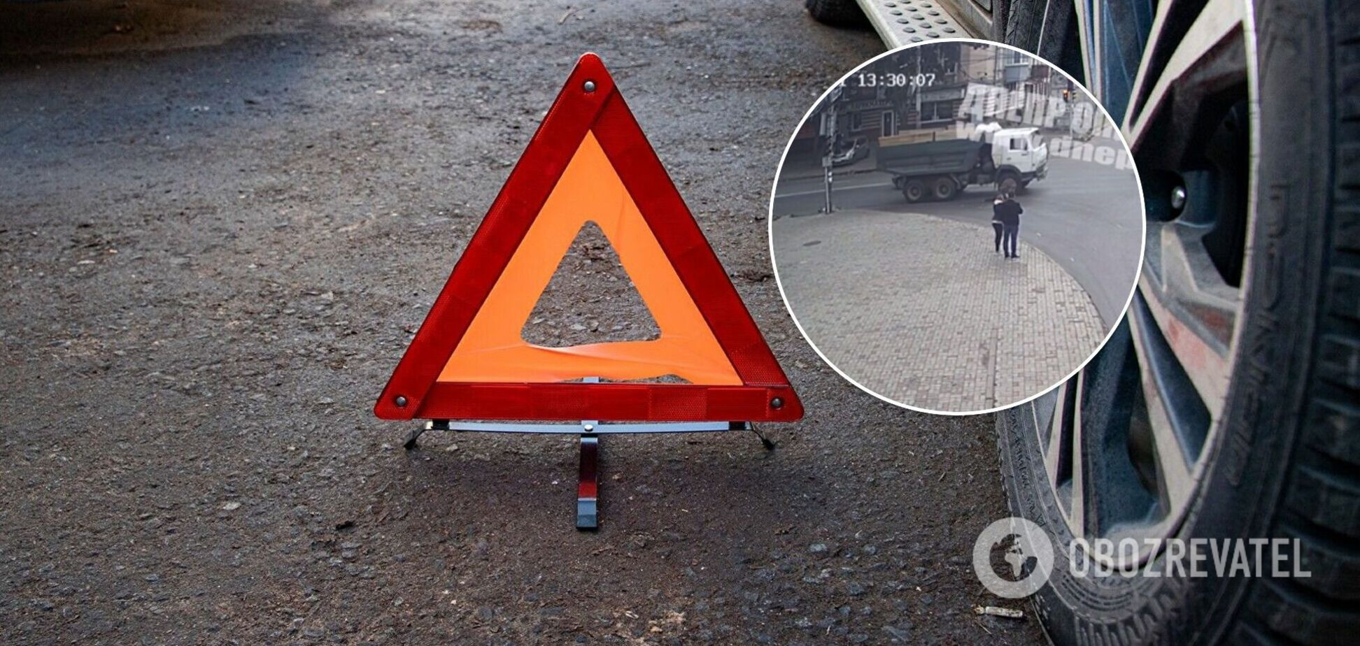 У Дніпрі вантажівка збила жінку, яка переходила дорогу на заборонений сигнал світлофора. Момент потрапив на відео