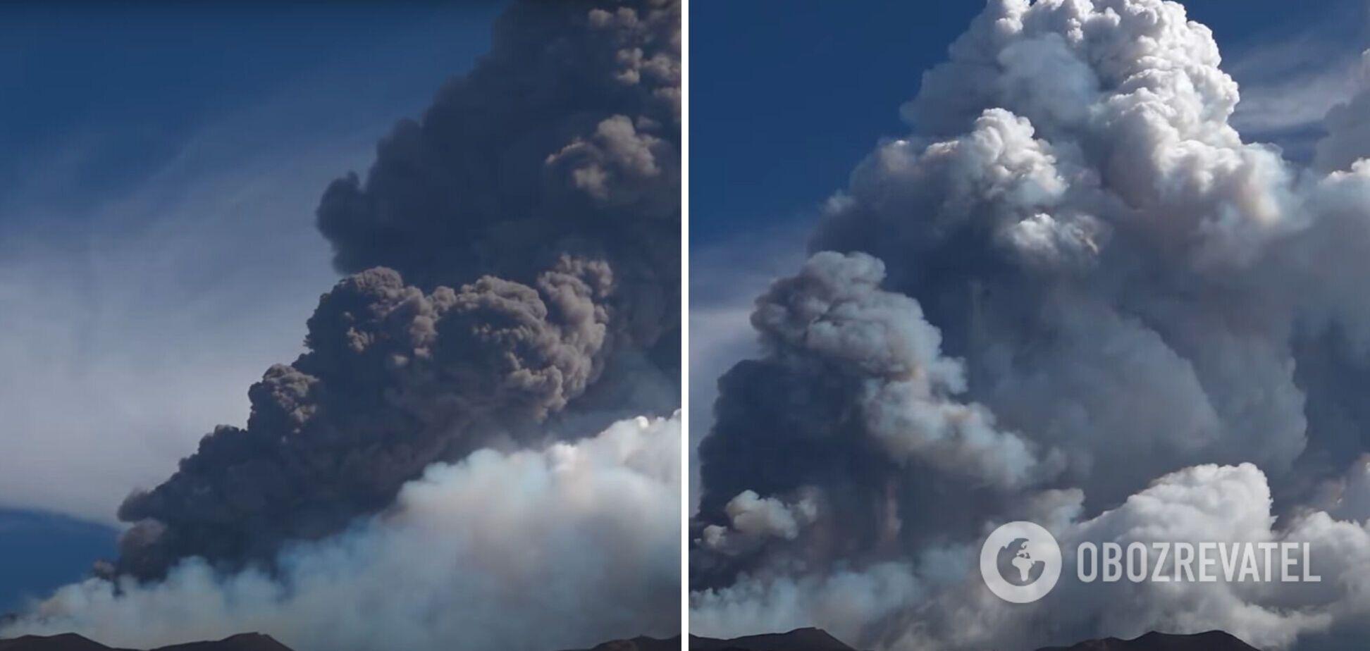 На Сицилії вулкан Етна викинув 9-кілометровий стовп попелу. Відео