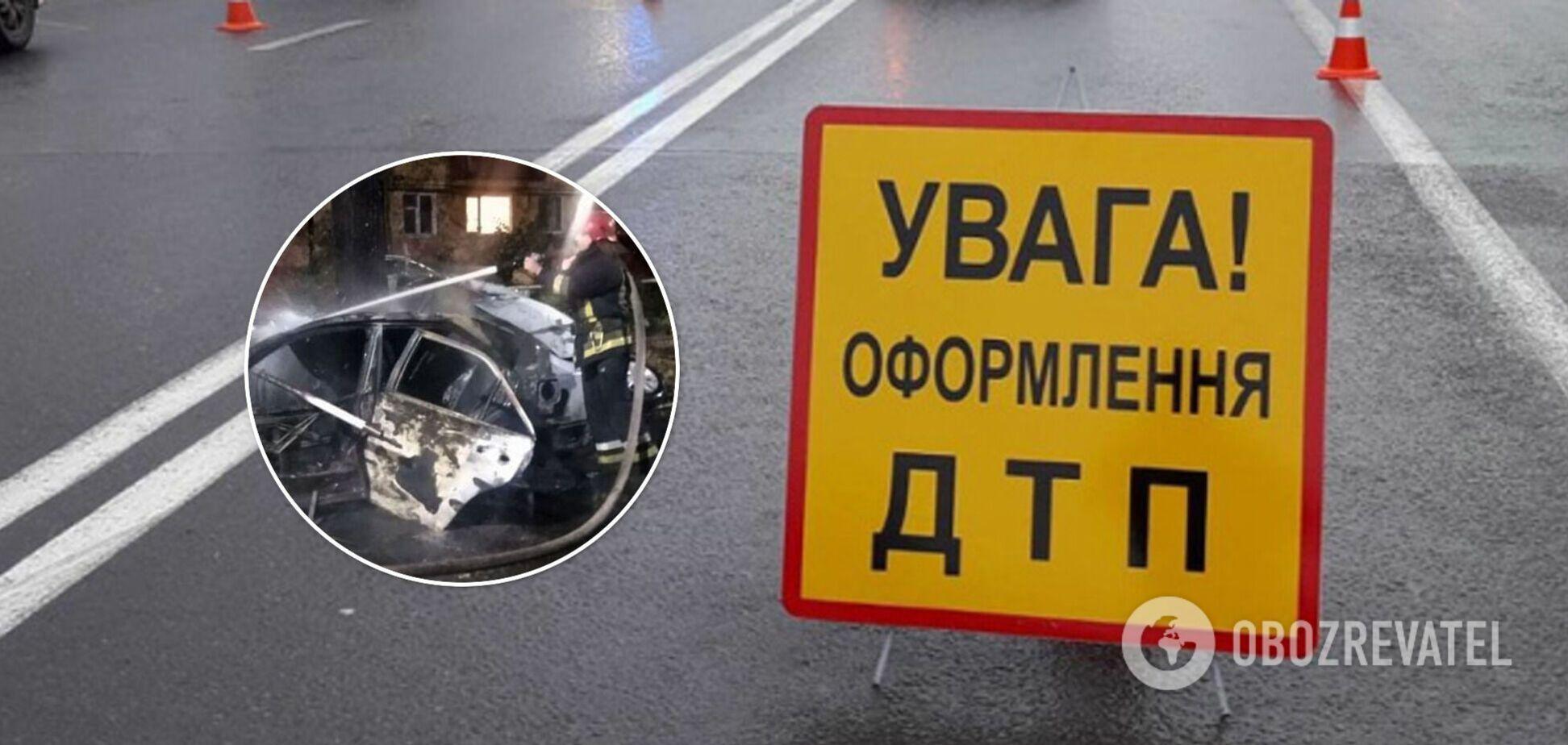 У Кривому Розі авто на швидкості влетіло в дерево та загорілося, загинула жінка. Фото