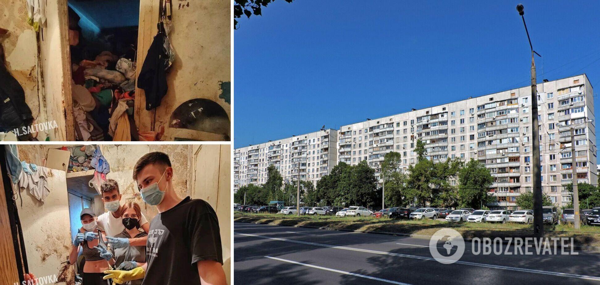 Передвигается ползком под потолком: в Харькове пенсионерка забила свою квартиру мусором. Фото