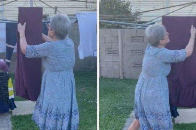 Женщина показывает лайфхак, как просто складывать постельное белье