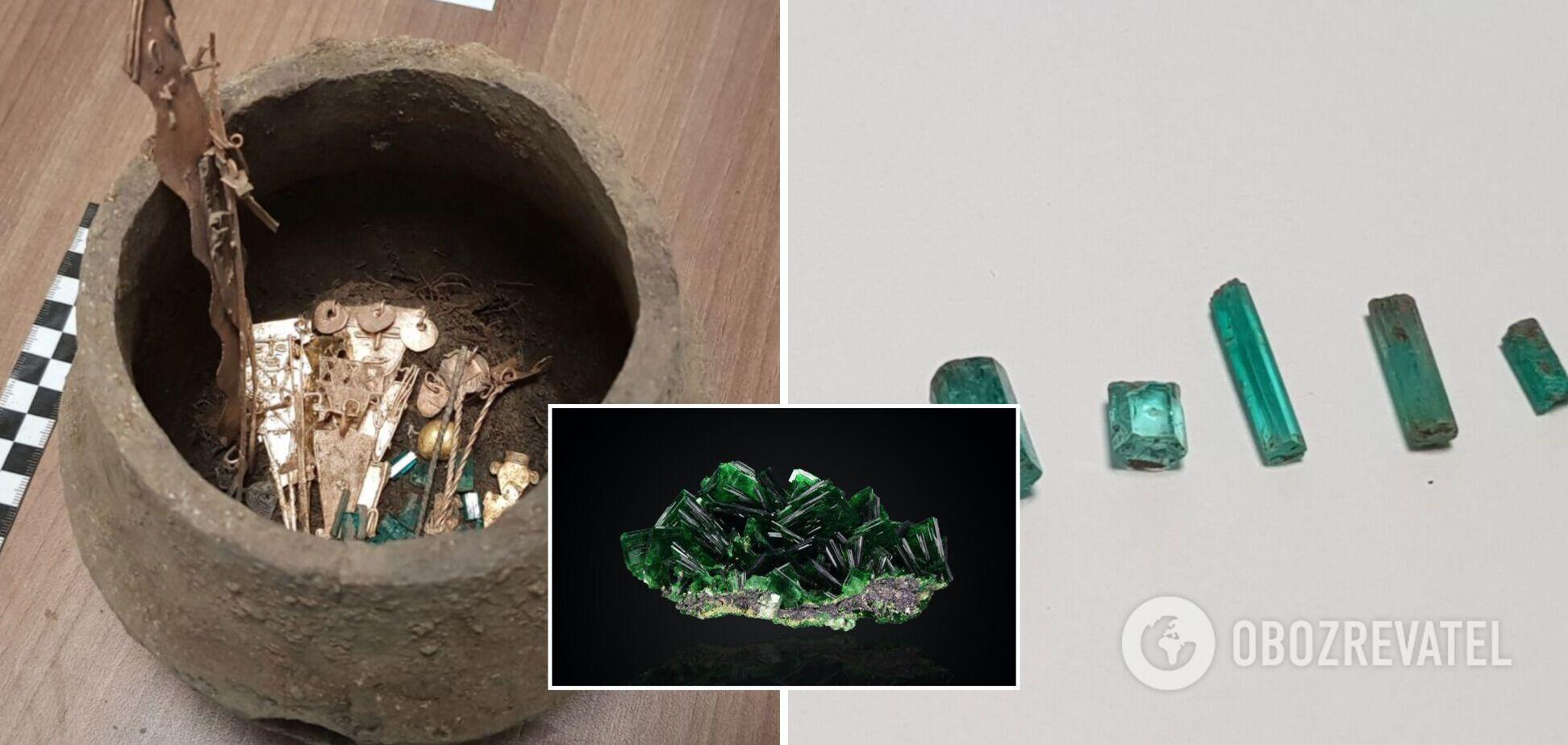 Археологи нашли в Колумбии старинные кувшины с изумрудами. Фото