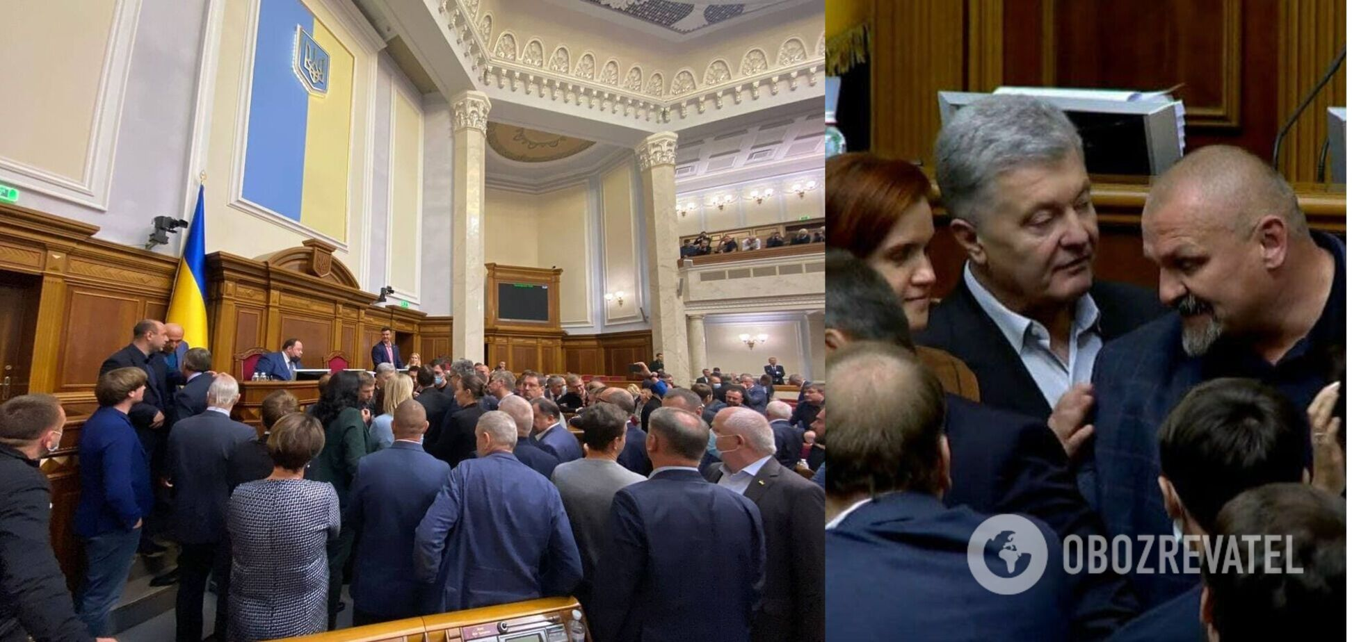 В Раде блокировали трибуну перед голосованием по закону об олигархах, произошла перепалка. Видео