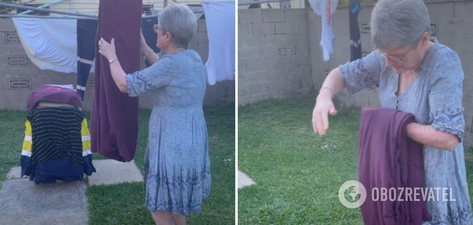 Бабуся із Австралії стала популярною завдяки своєму вмінню складати простирадло. Відео
