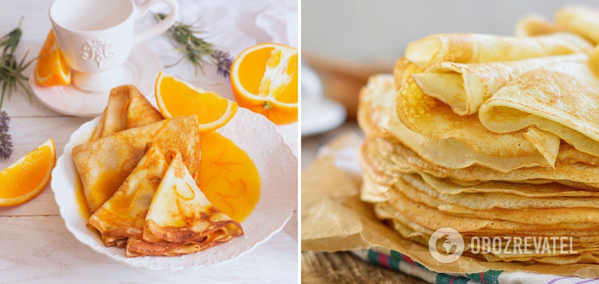 Блины с творогом в апельсиновом соусе