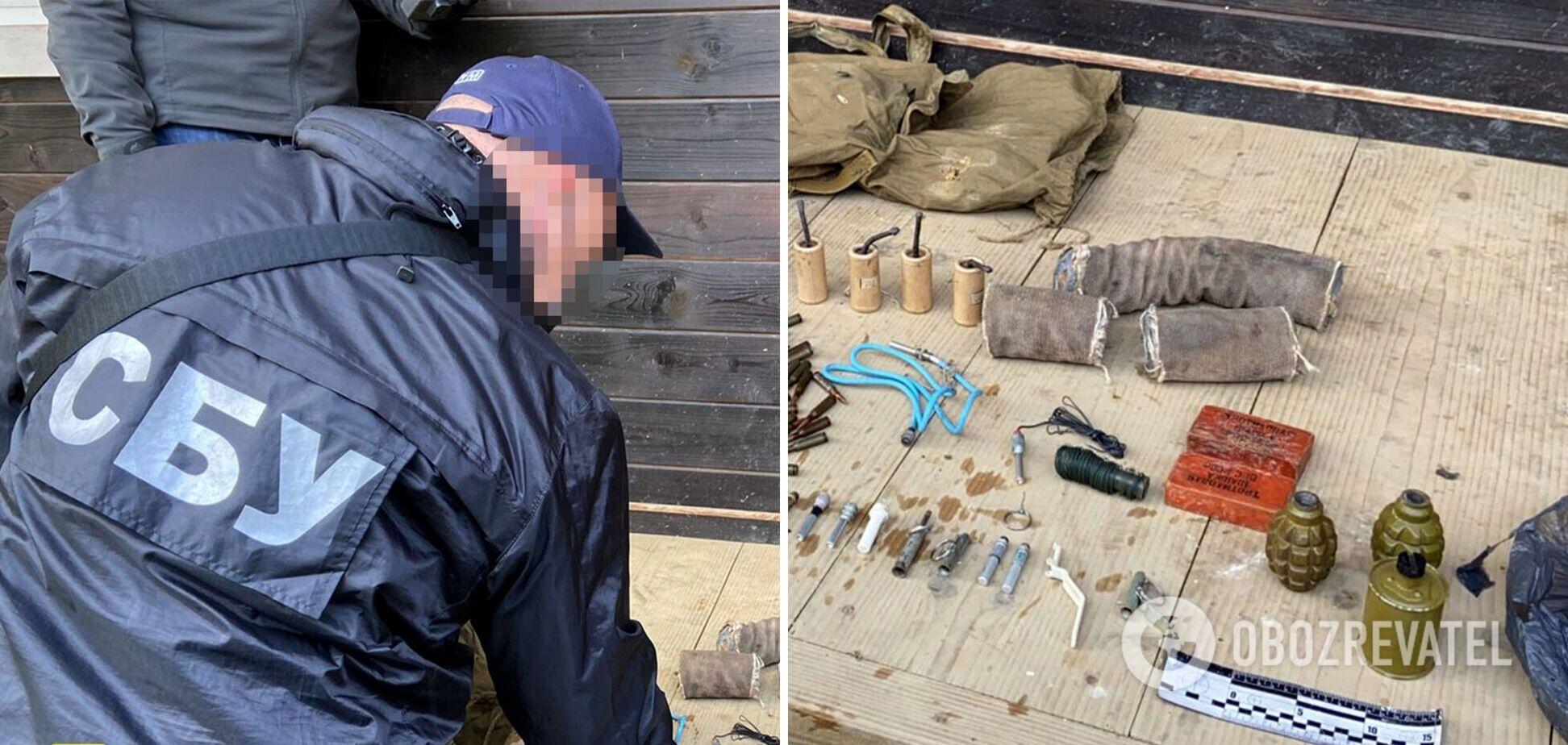 СБУ обнаружила у 'активиста' с Львовщины тайник со взрывчаткой и гранатами. Фото