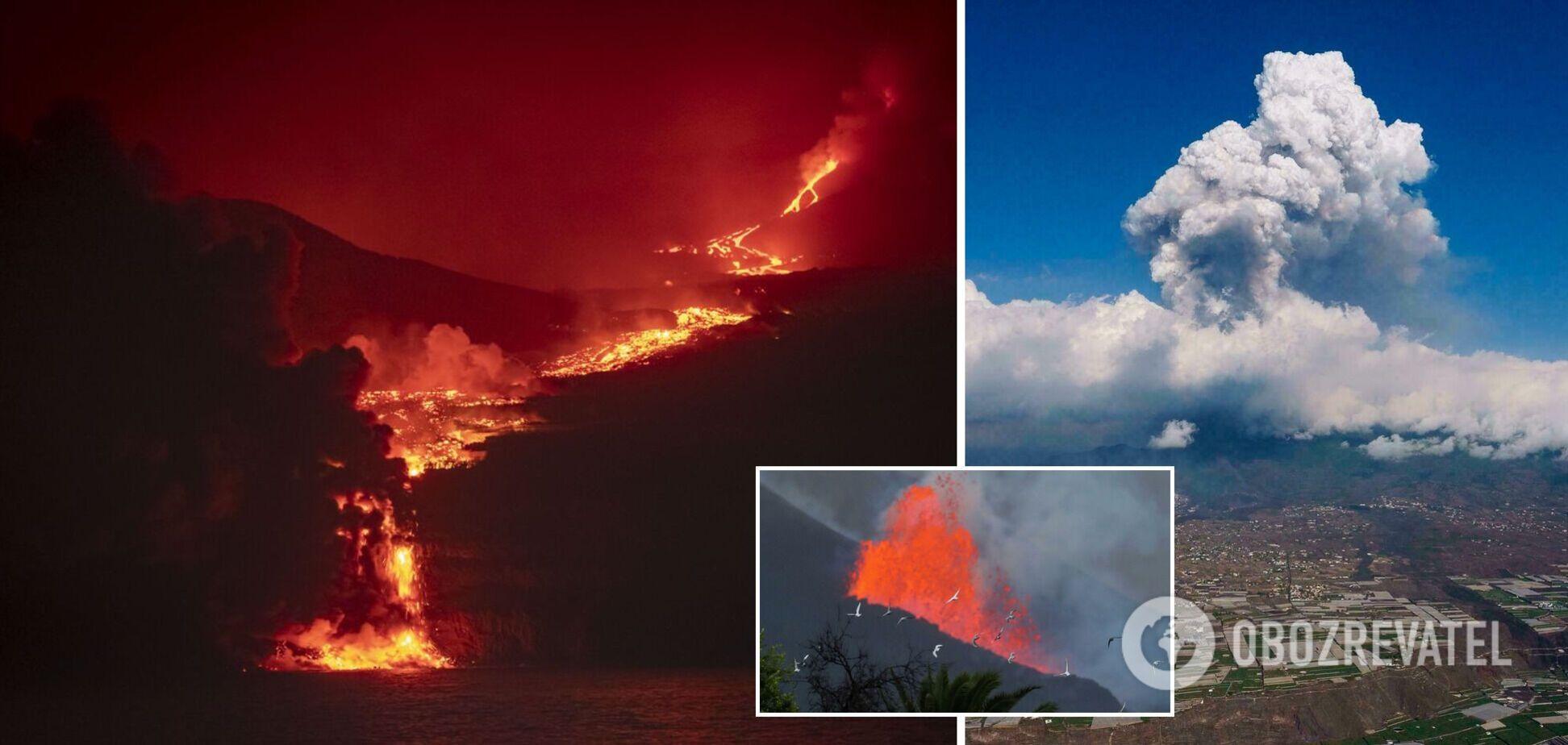 Лава вулкана на Канарських островах досягла океану, піднявся стовп диму. Фото і відео