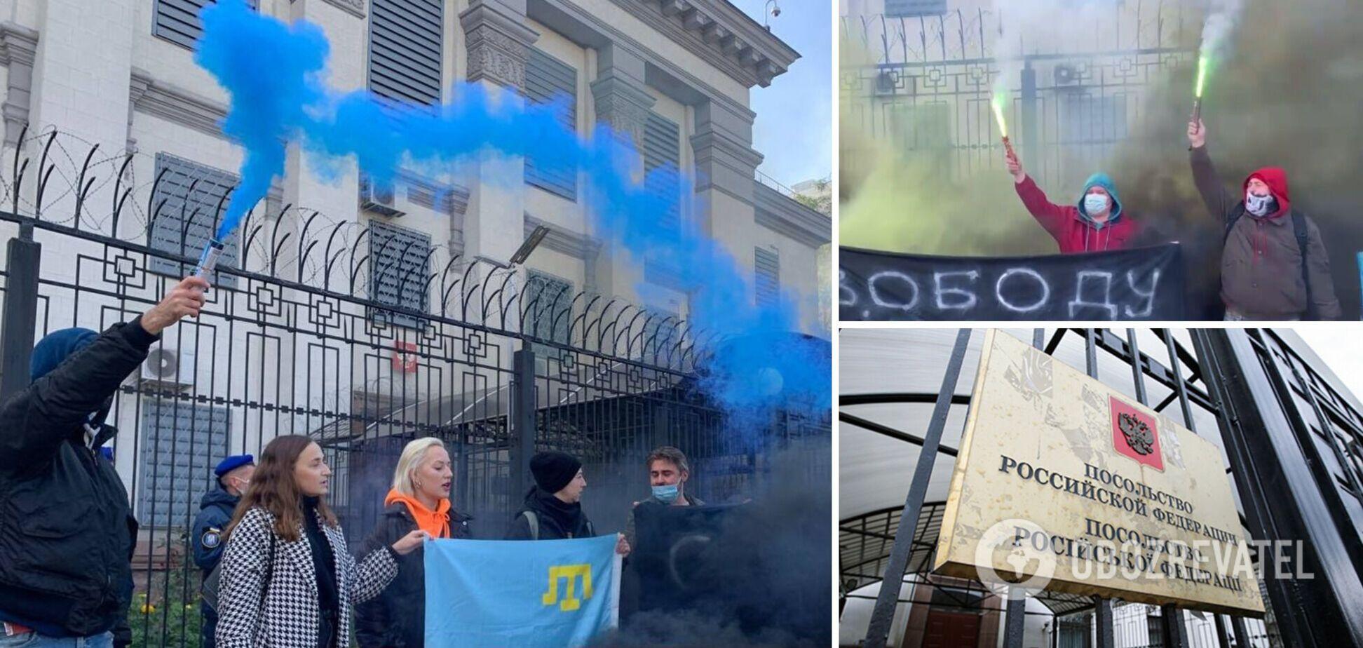 У Києві під посольством РФ пройшла акція на підтримку українських в'язнів Кремля. Фото і відео