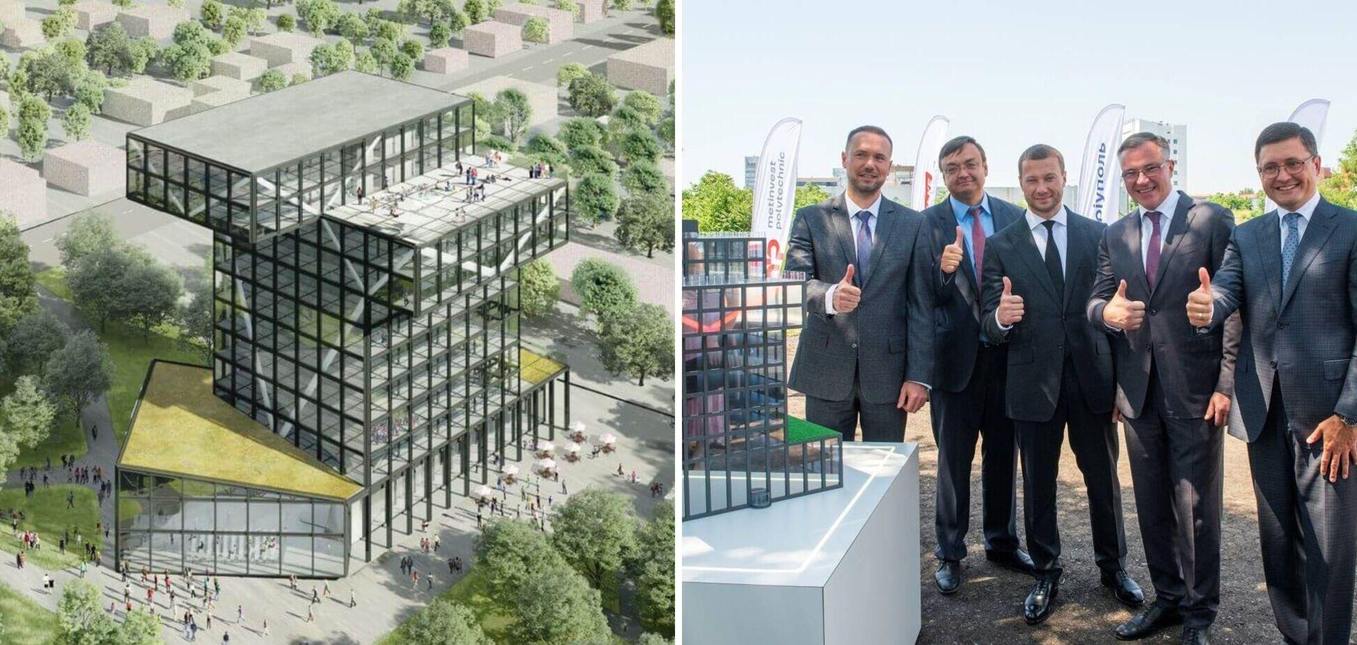 Макет главного корпуса будущего университета 16 июля собрали руководители Группы, университета, Министерства образования и науки Украины, а также областной и городской властей