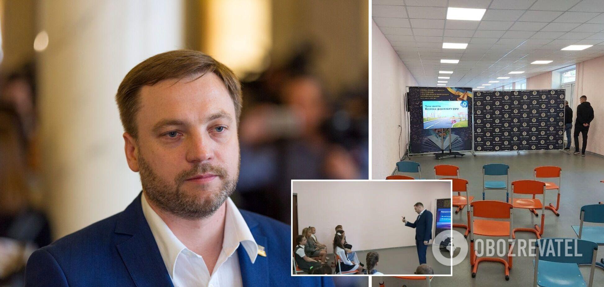 Очільник МВС Монастирський розповів учням однієї з київських шкіл про безпеку на дорозі. Фото та відео